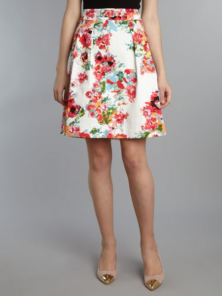 Adrianna Papell Printed pleat skirt with belt