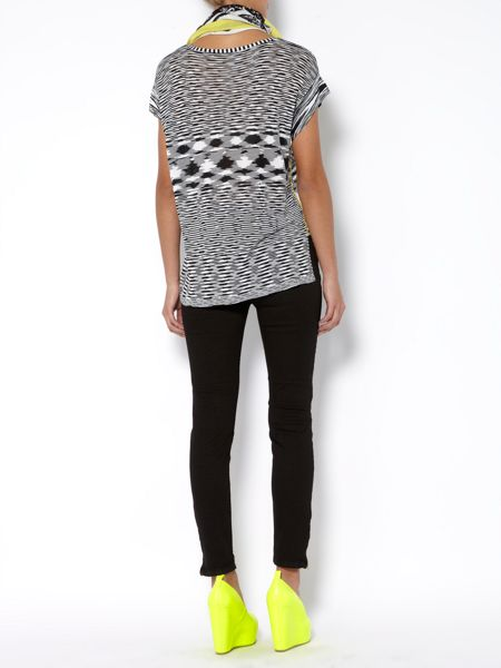 Oui Short sleeve crew neck printed top