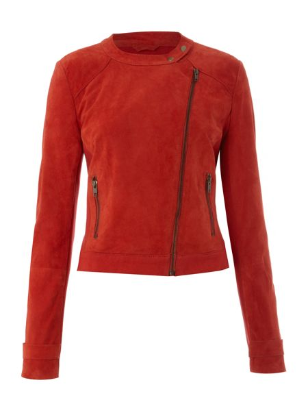 Oui Suede long sleeve jacket with zip detail