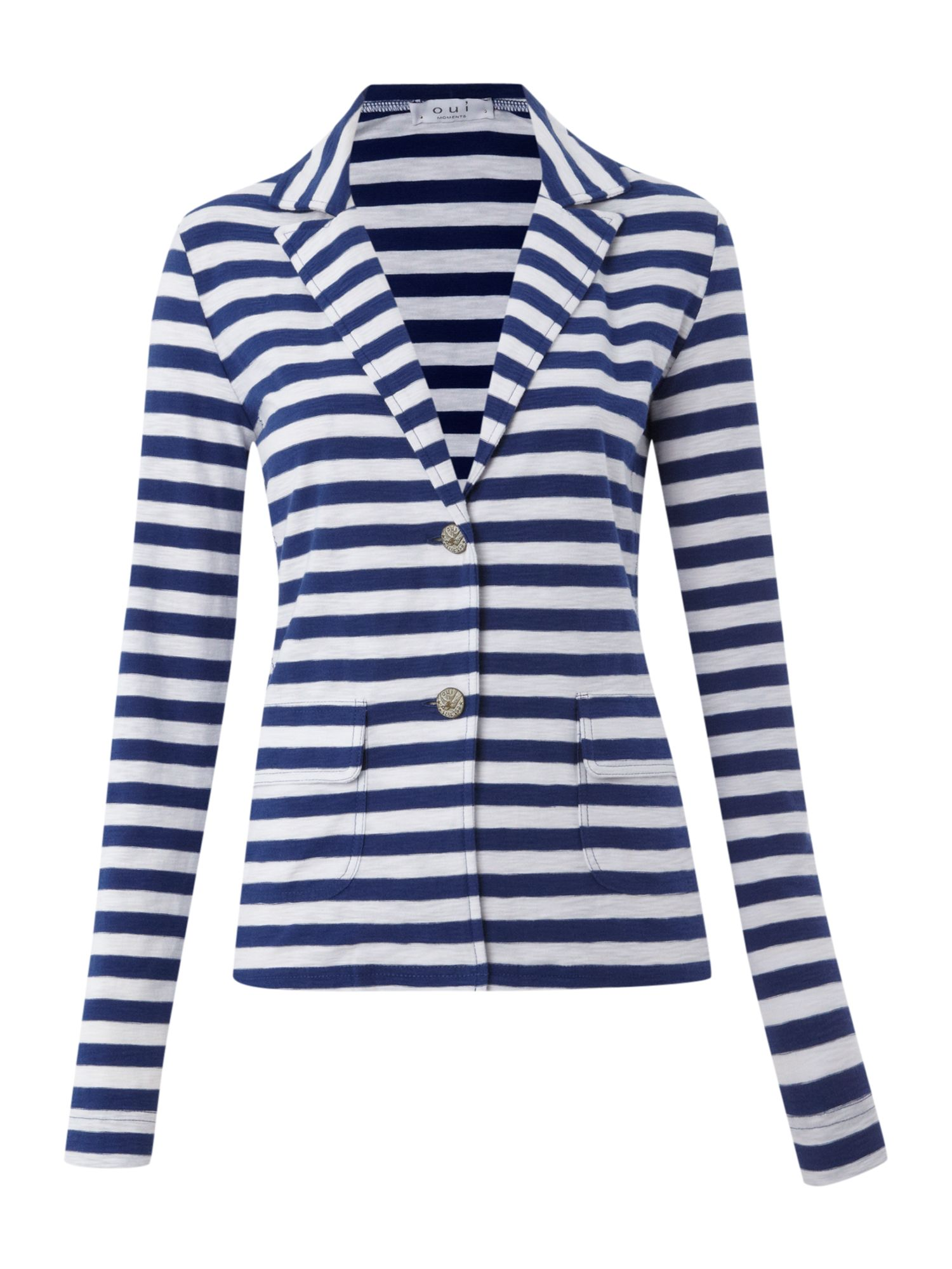 Long sleeved striped jersey blazer