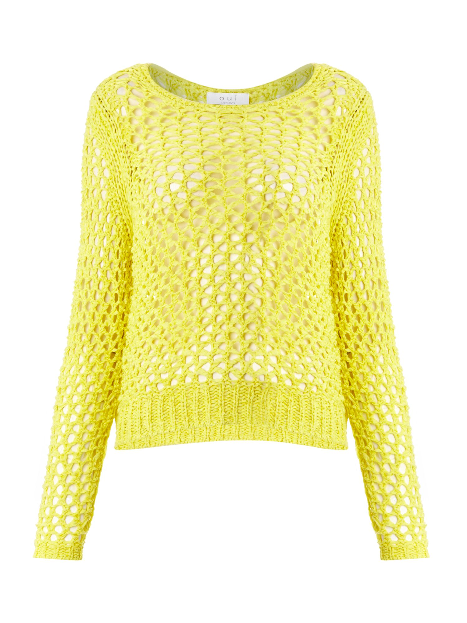 Long sleeve crew neck open weave jumper