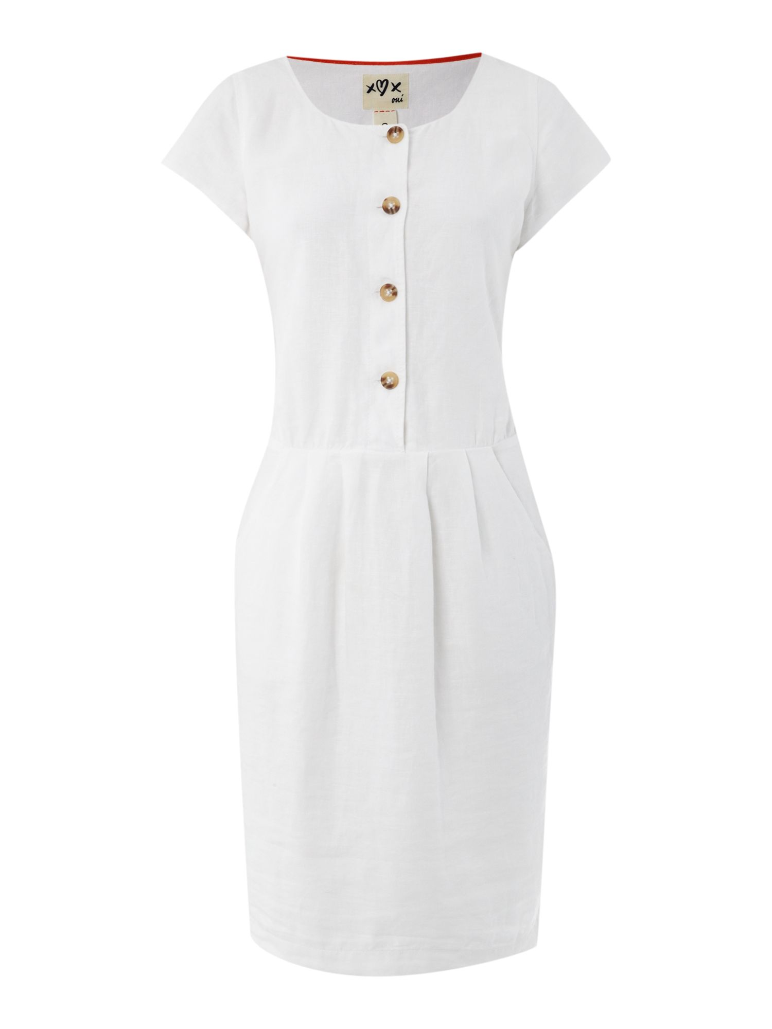 Cap sleeved button front linen dress