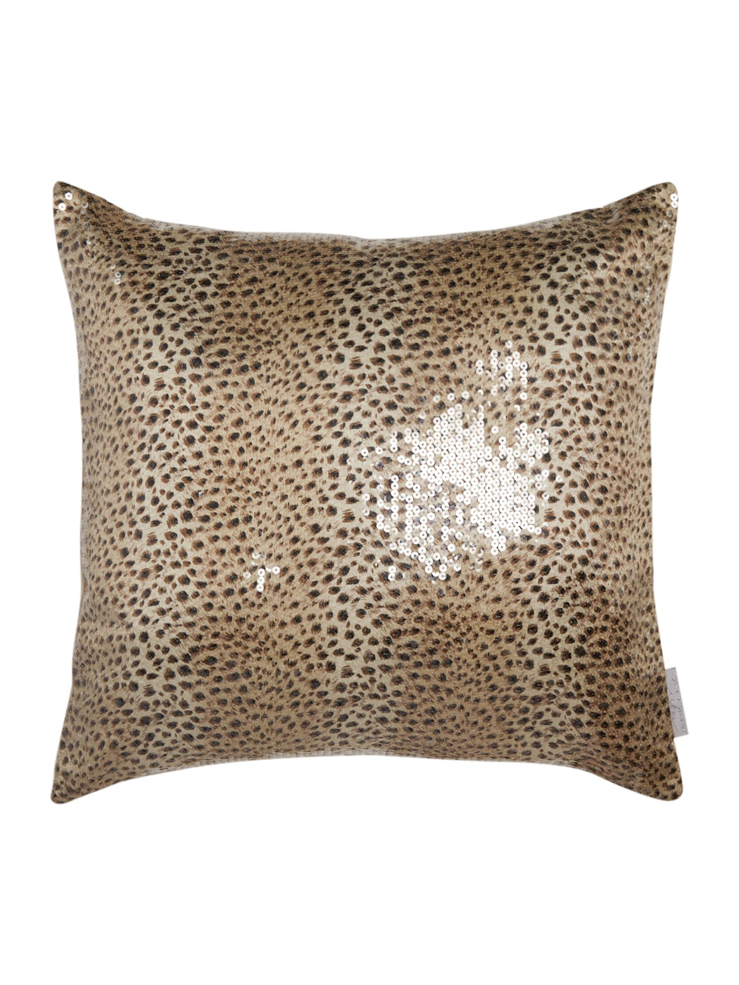 Leopard sequin square cushion