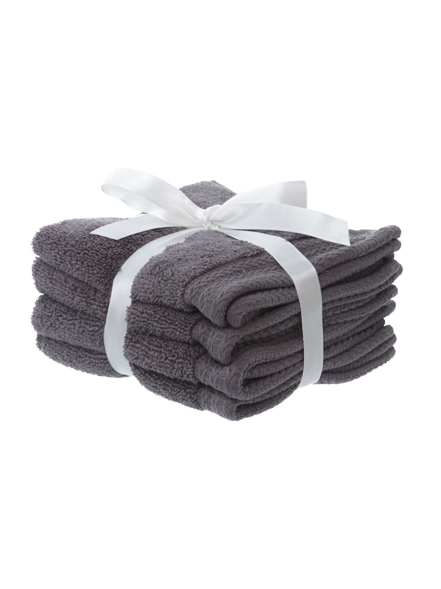 Zero twist face cloth pack of four pewter