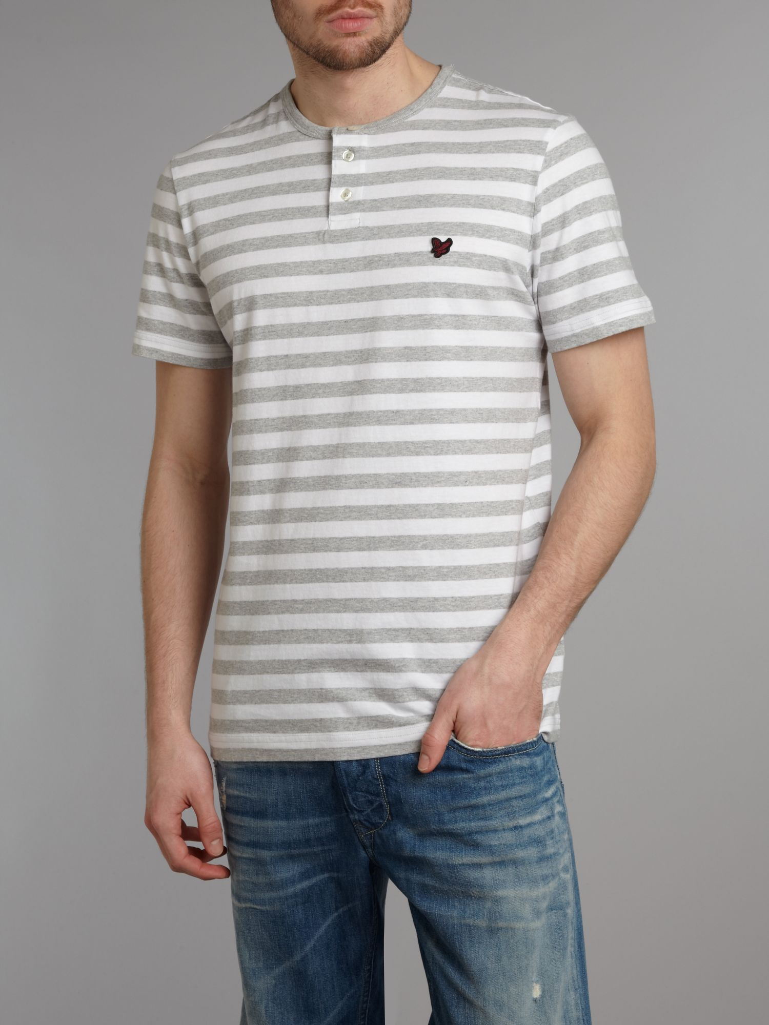 Stripe button placket t-shirt