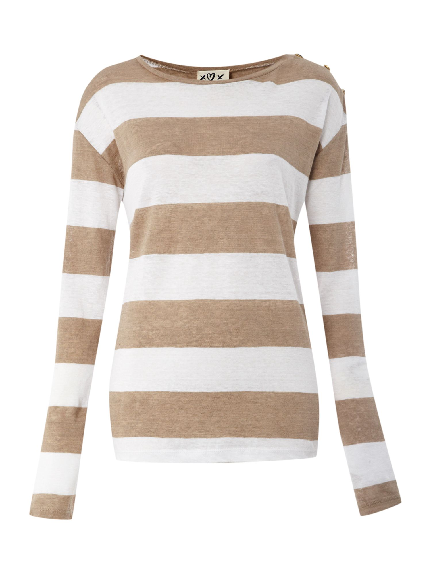 Long sleeve striped linen top