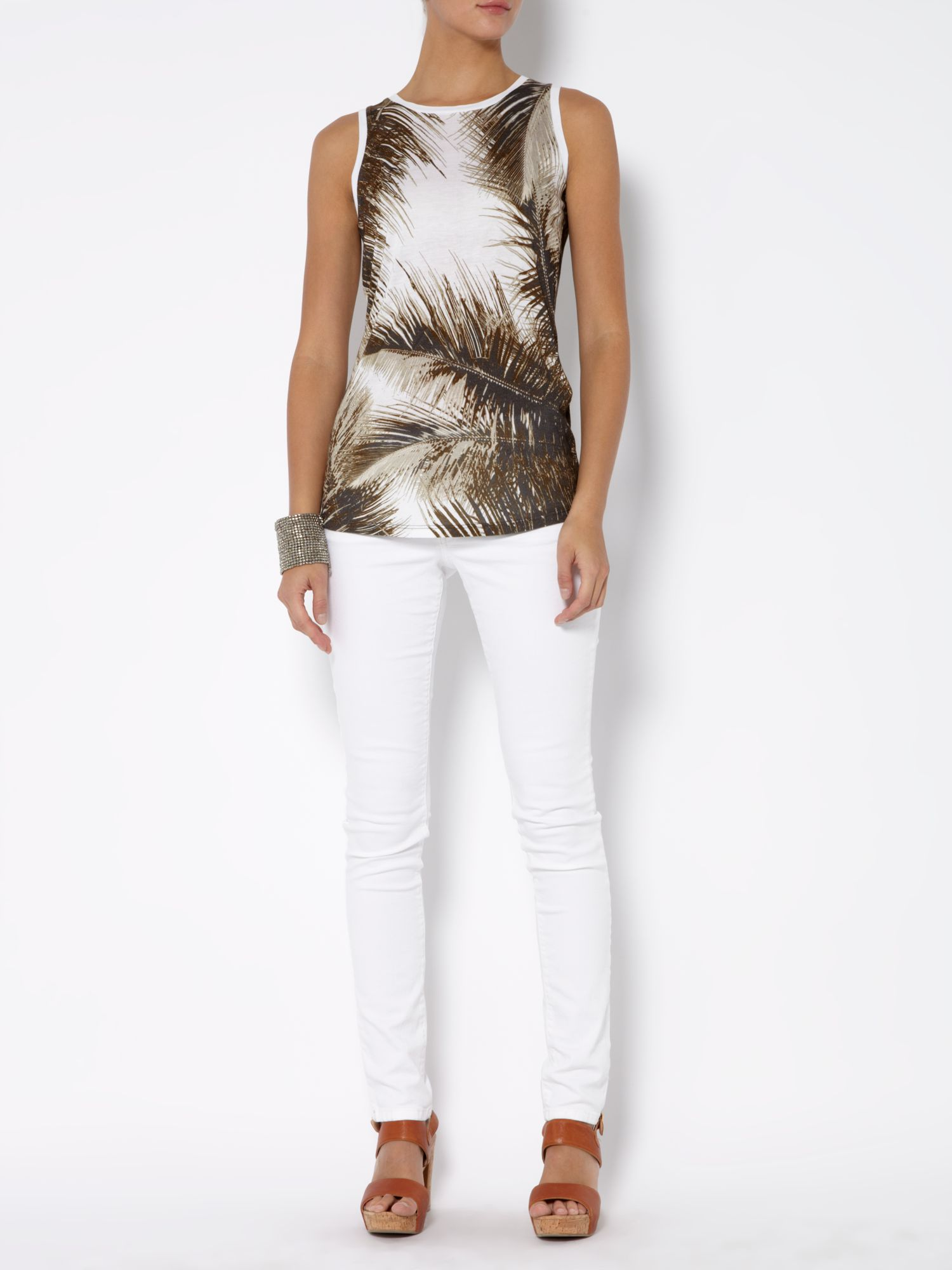 Sleeveless palm print vest top