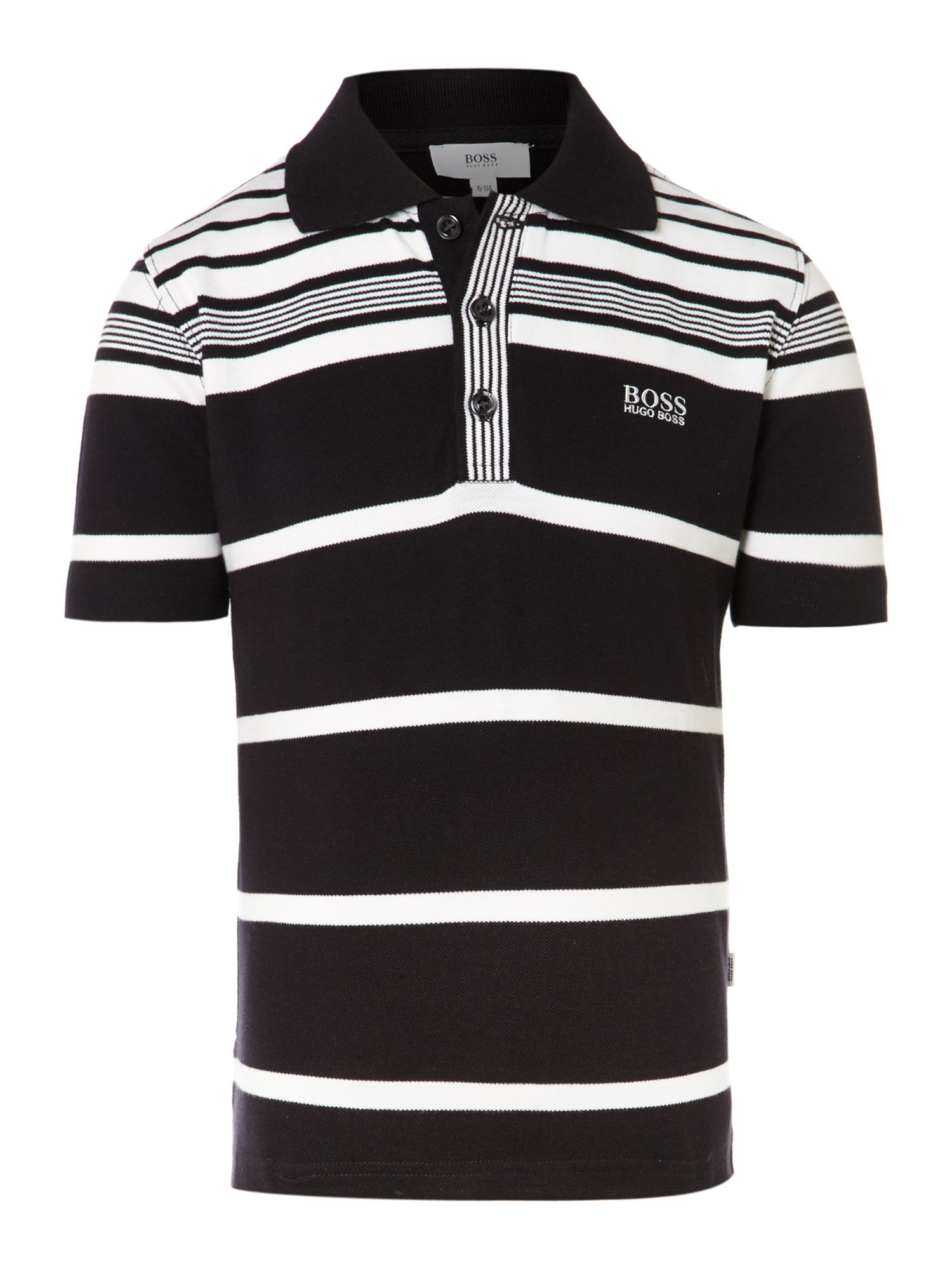 Boy`s black & white cotton polo