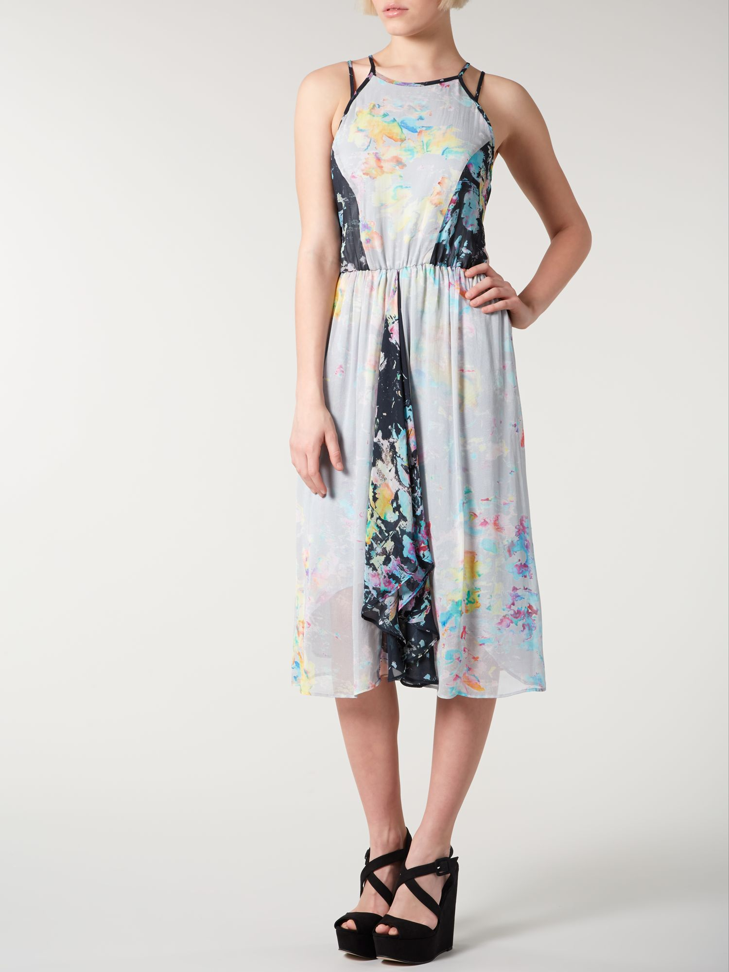 Print mix swing dress