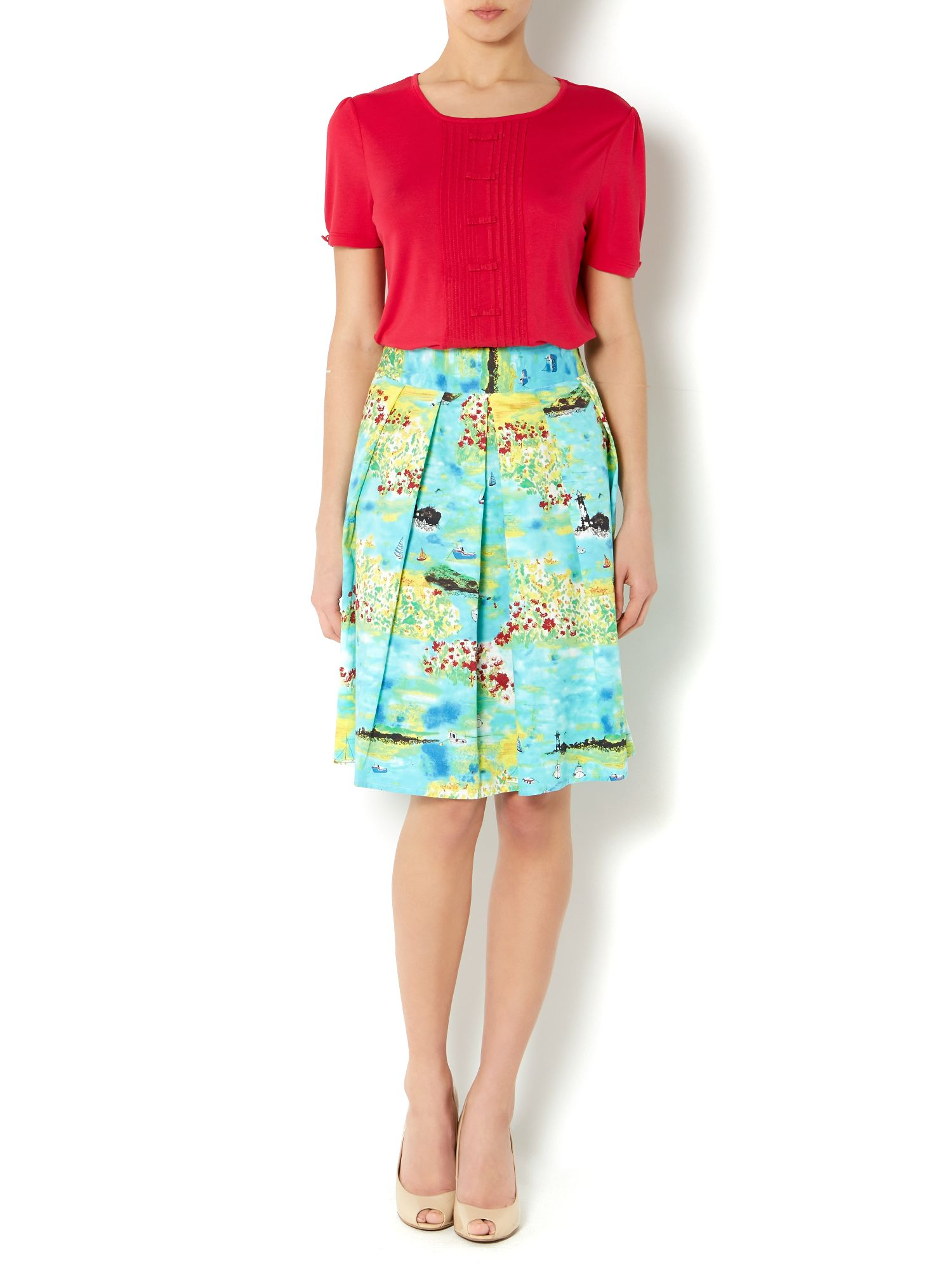 Ladies seaside print skirt