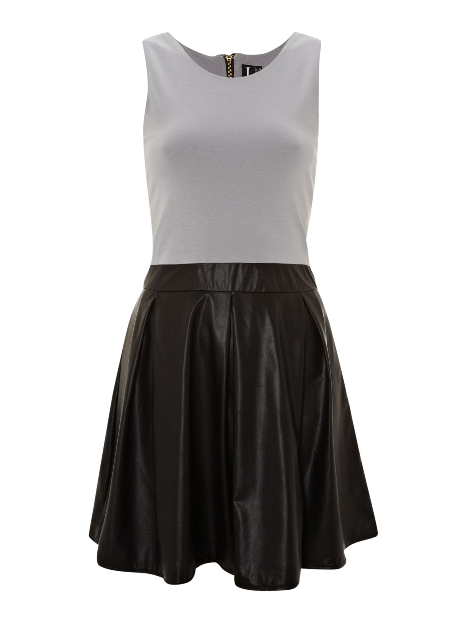 Colour block pu skater dress
