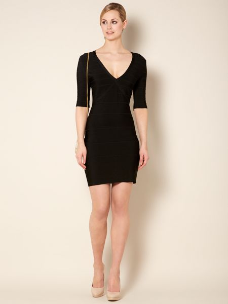 Untold Knitted bandage with sleeve dress