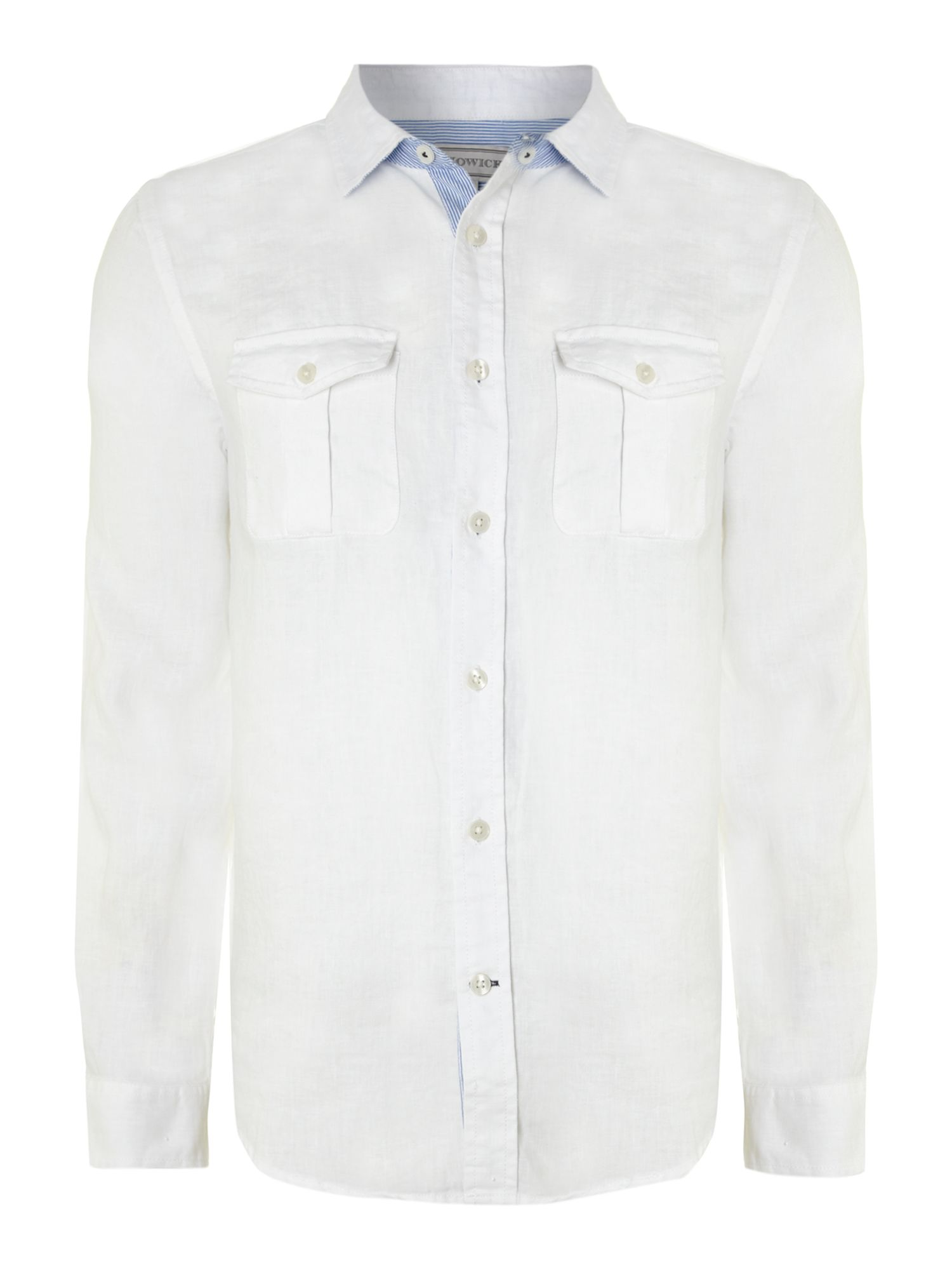 Long sleeved plain linen shirt