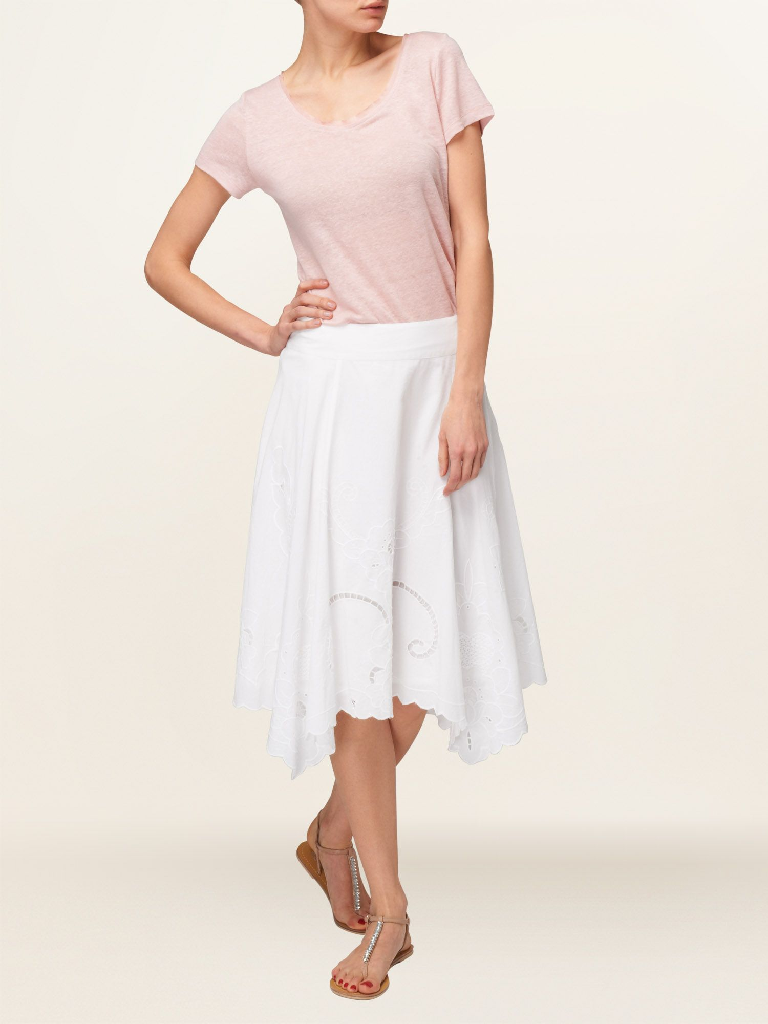 Brooke embroidered hem skirt