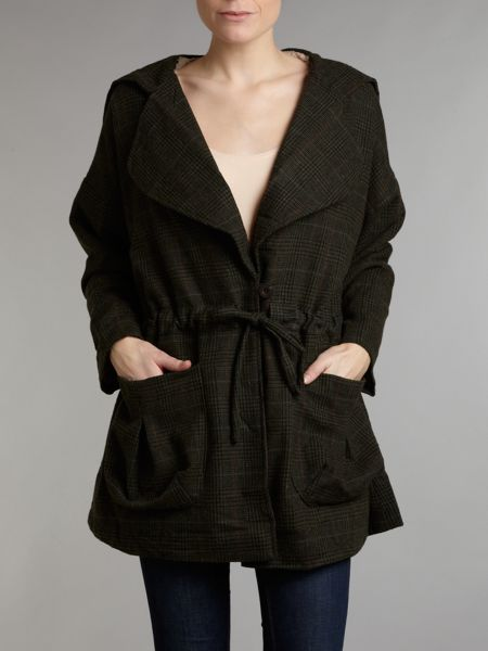 Jolie Moi Check hooded wool parka jacket
