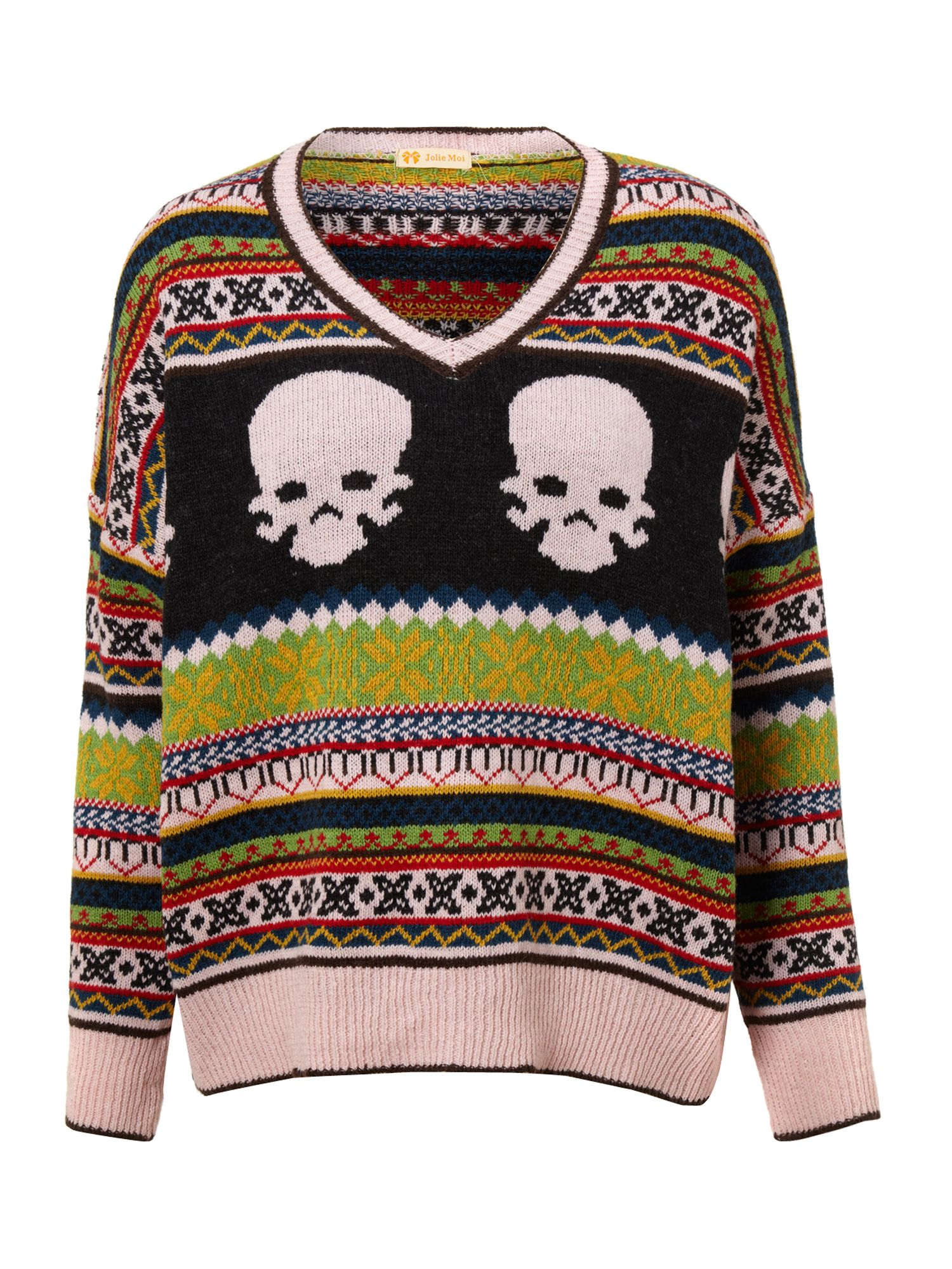 Skull print knitted jumper