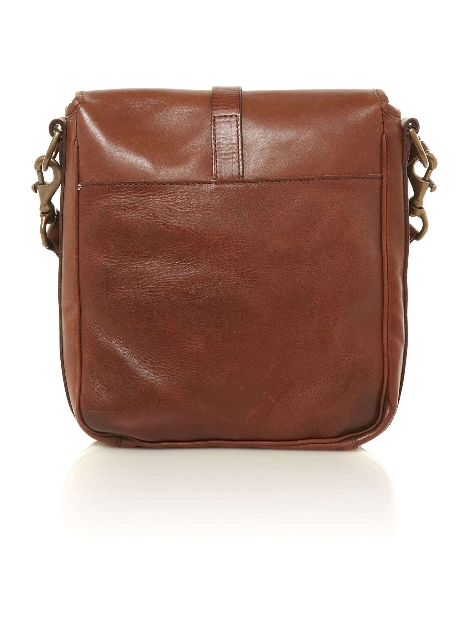 Leather north/south bag
