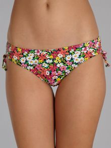 Piha Periwinkle floral ruched side tie brief