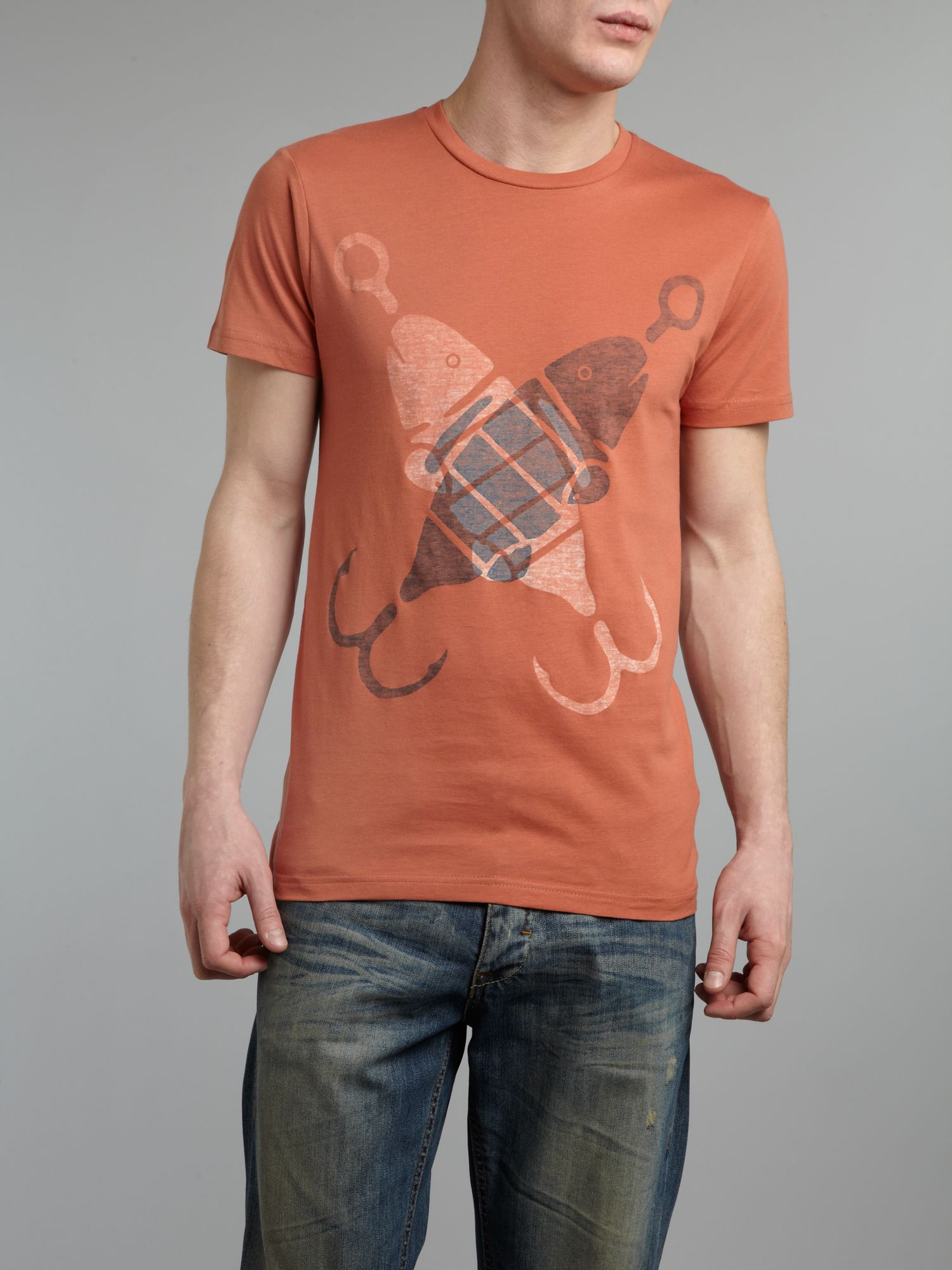 Reverse print fish graphic T-shirt