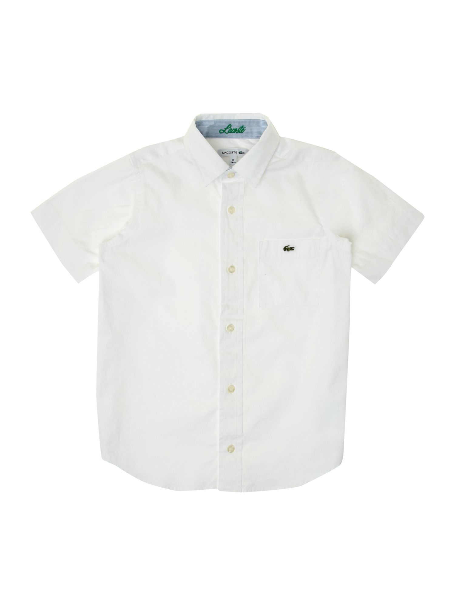 Boy`s classic short-sleeved white shirt