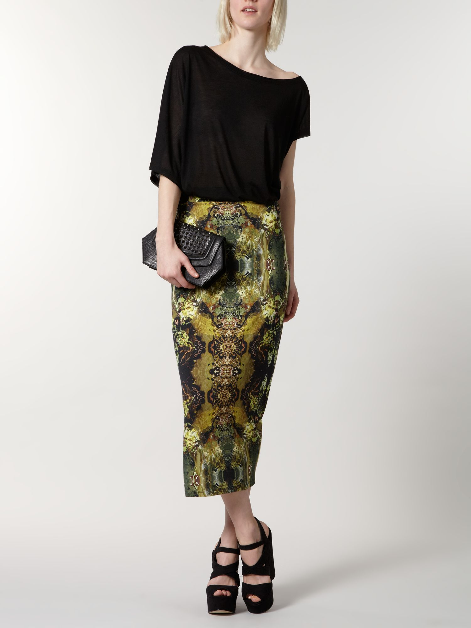 Digital print midi skirt