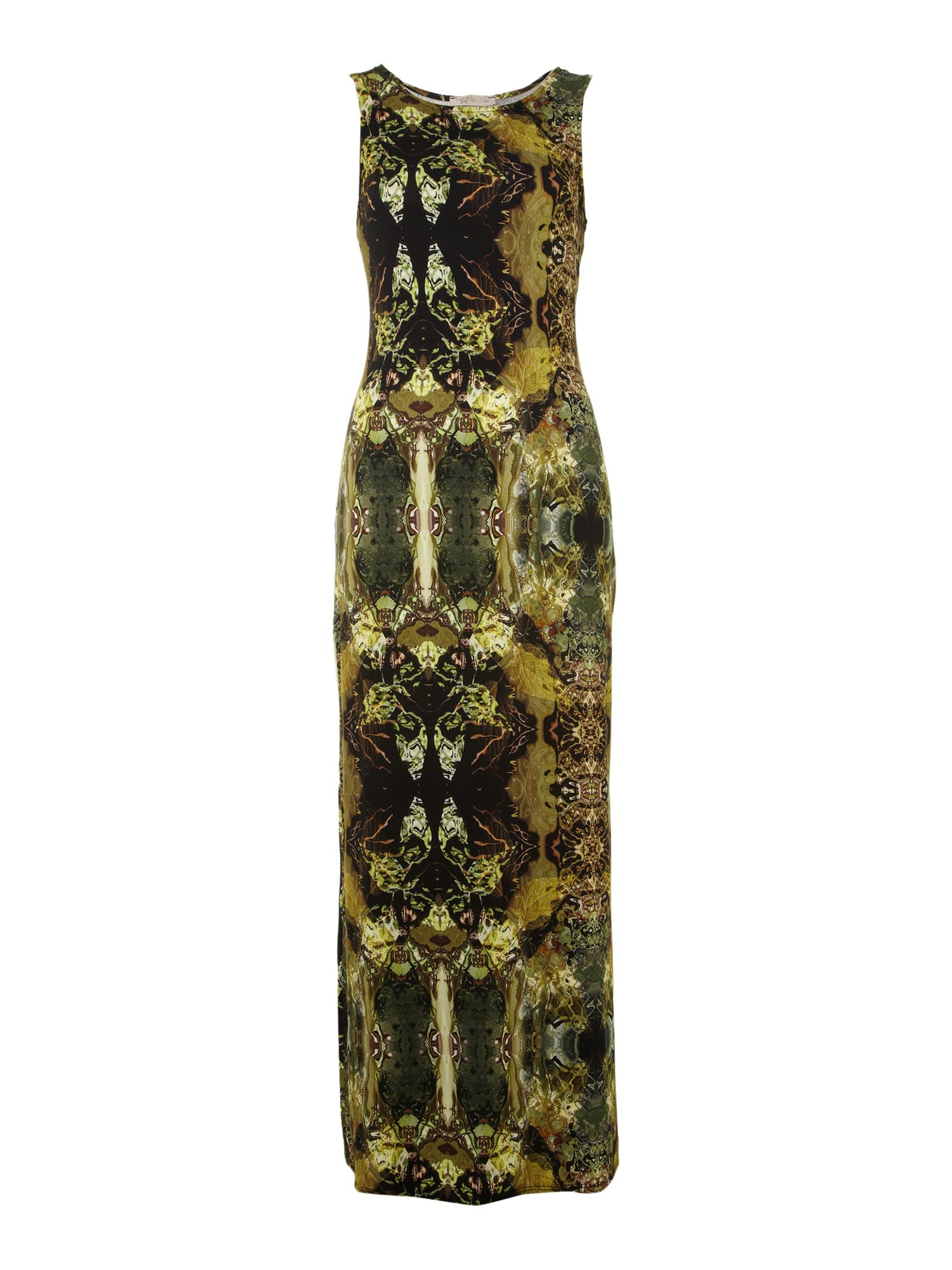 Digital print split maxi dress