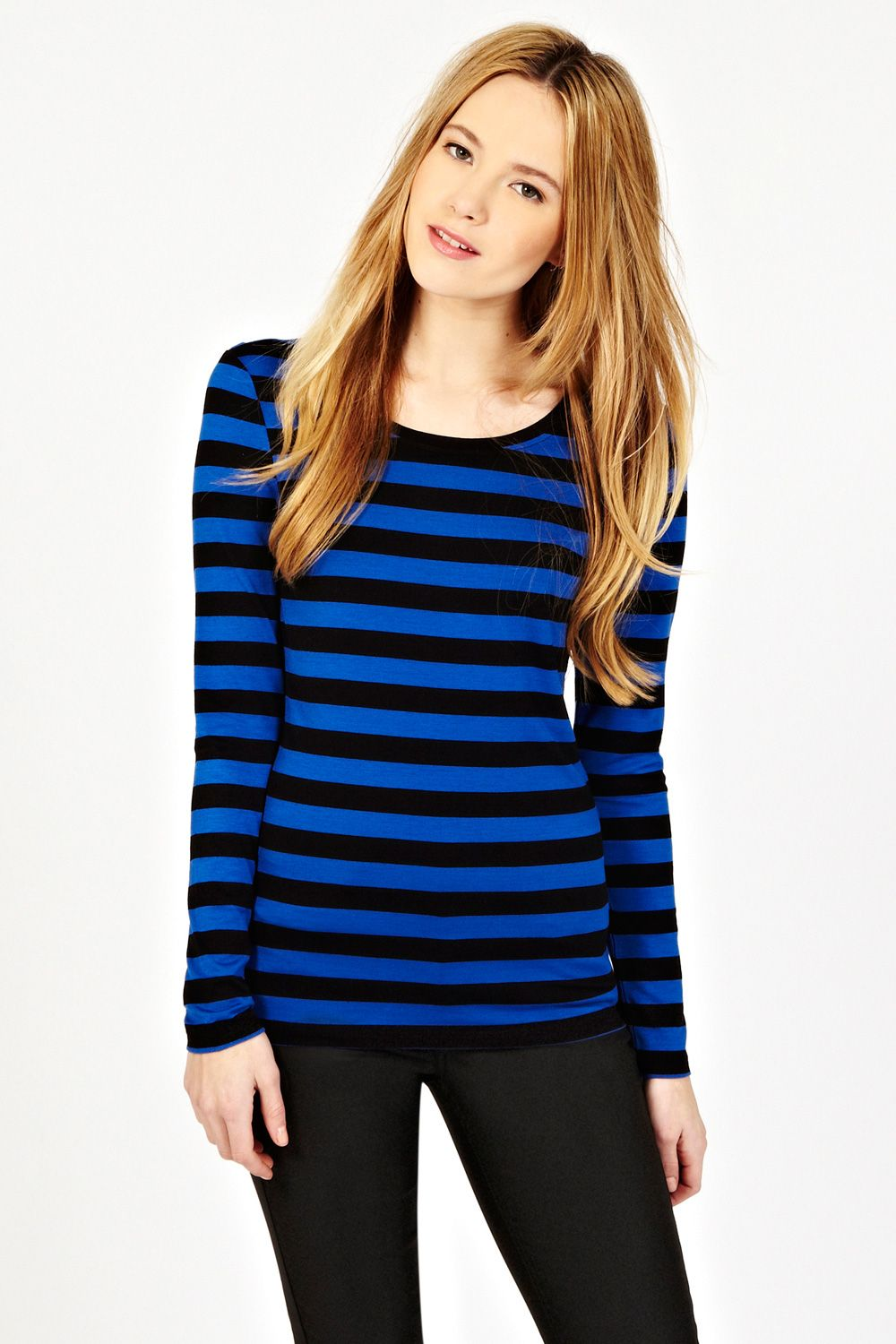 Stripe zip detail ls tee