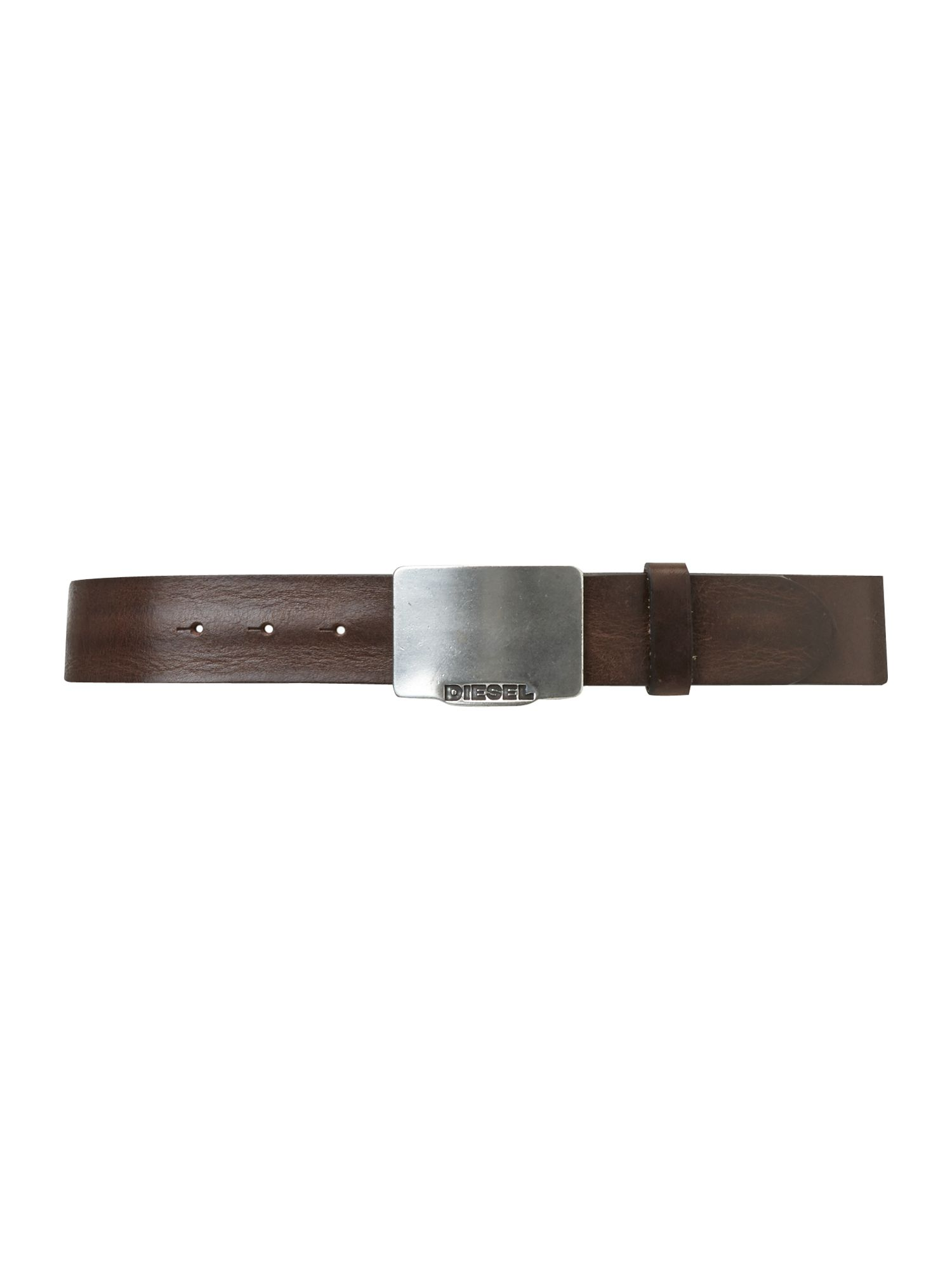 Engraved logo plaque belt