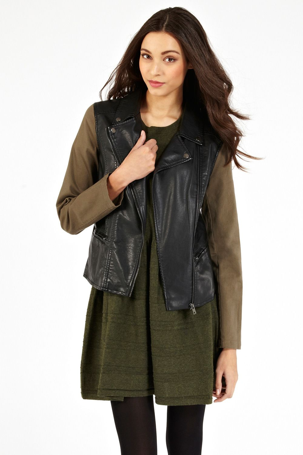 Mixed canvas pu biker jacket