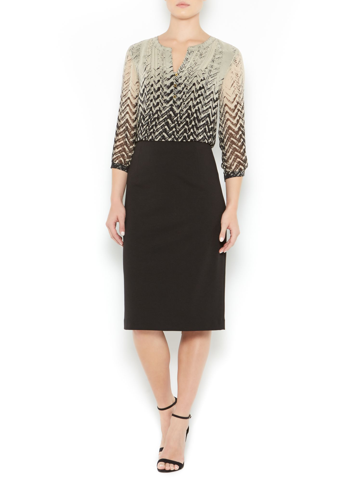 Ponte zip pencil skirt