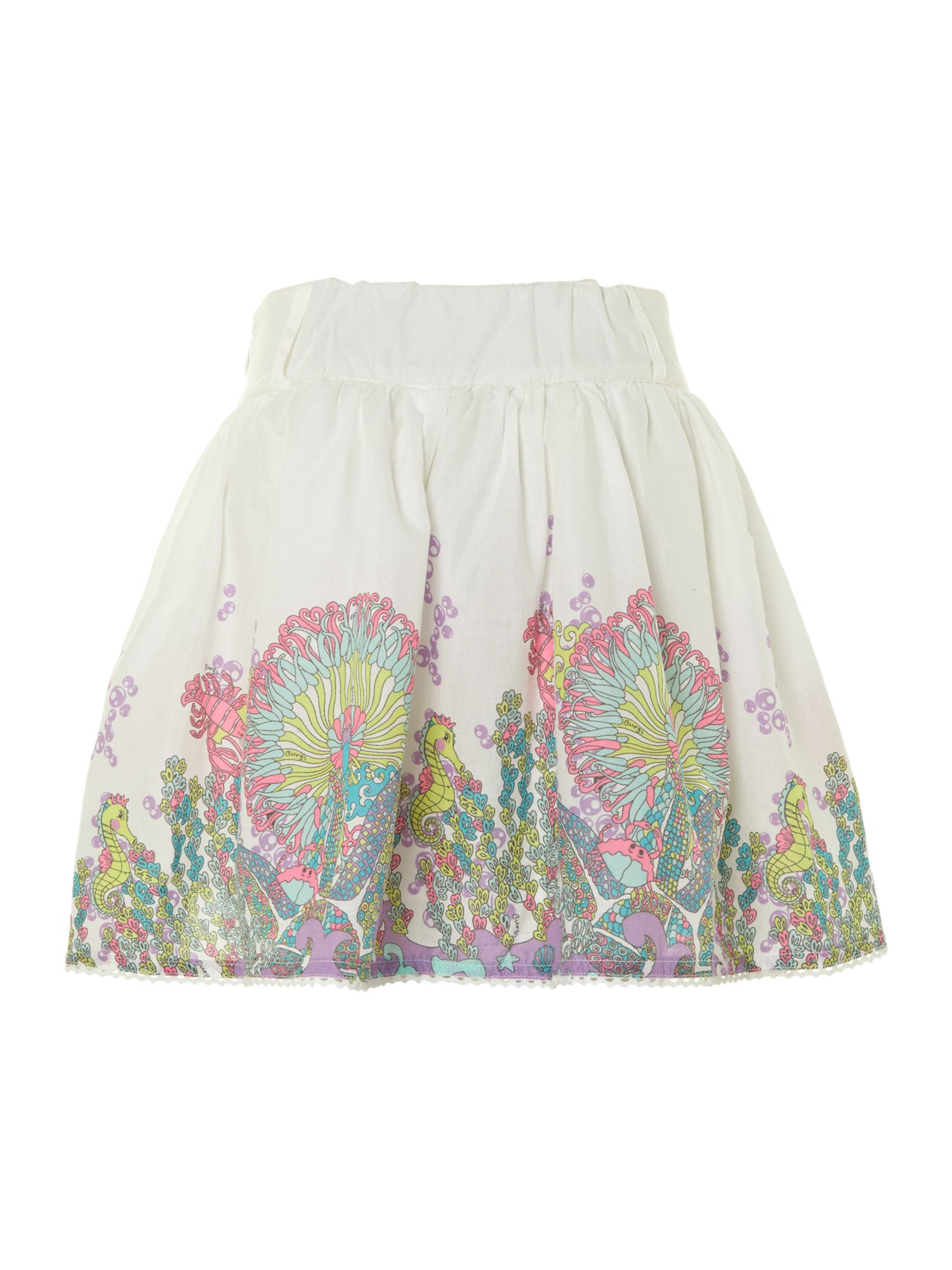 Girl`s coral reef border print skirt