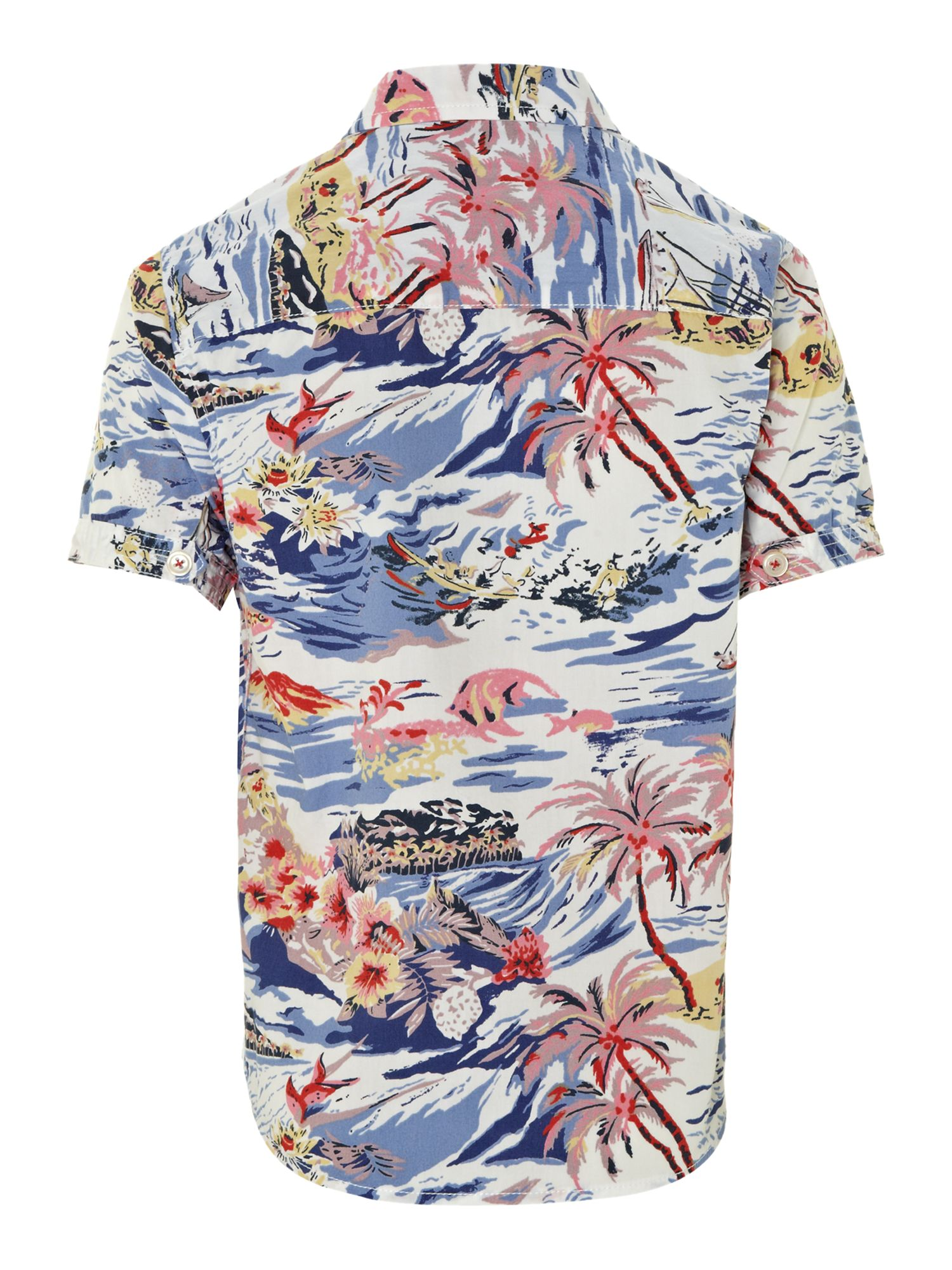 Boy`s linen mix Hawaiian print shirt