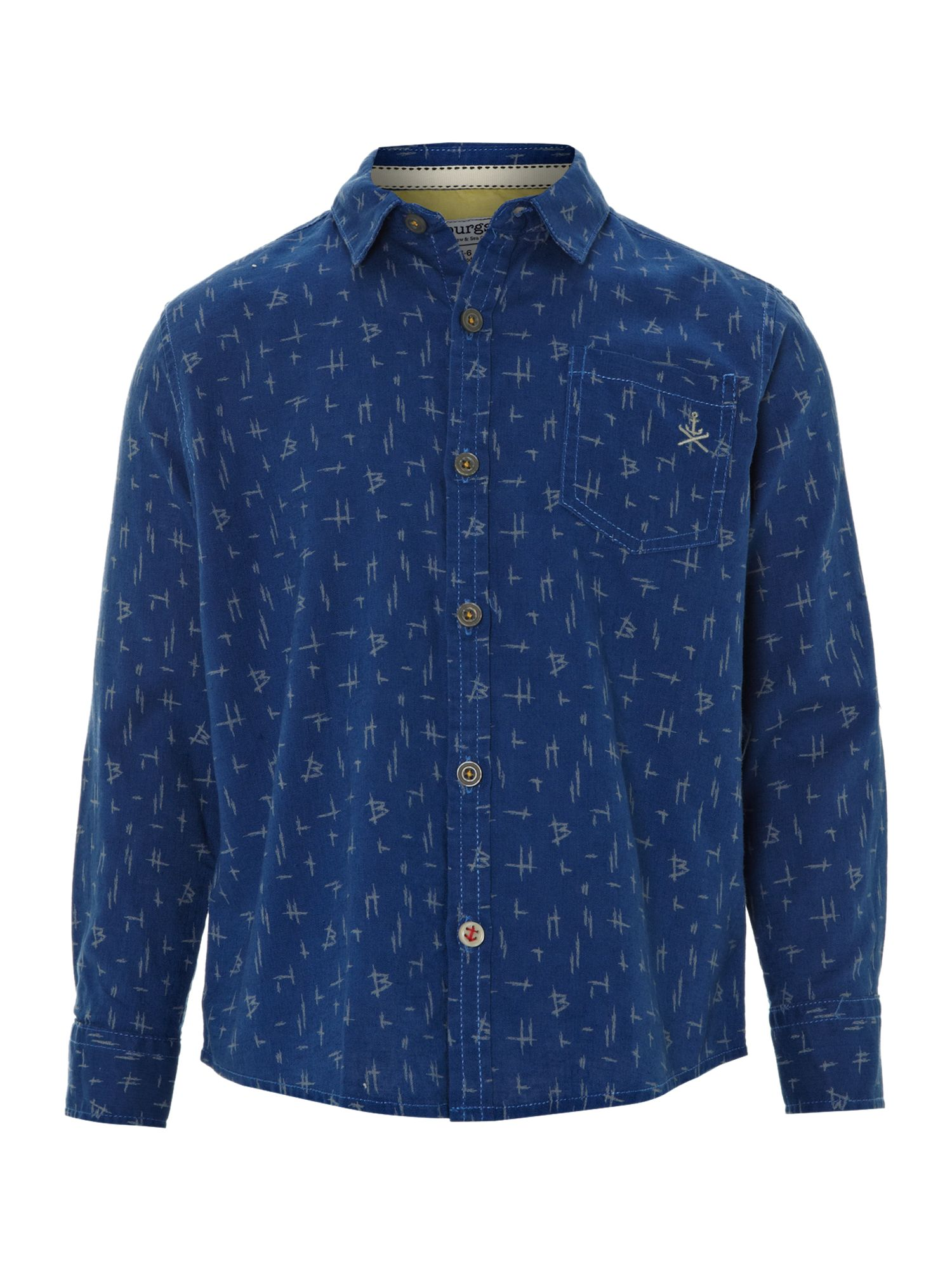 Boy`s linen mix printed shirt