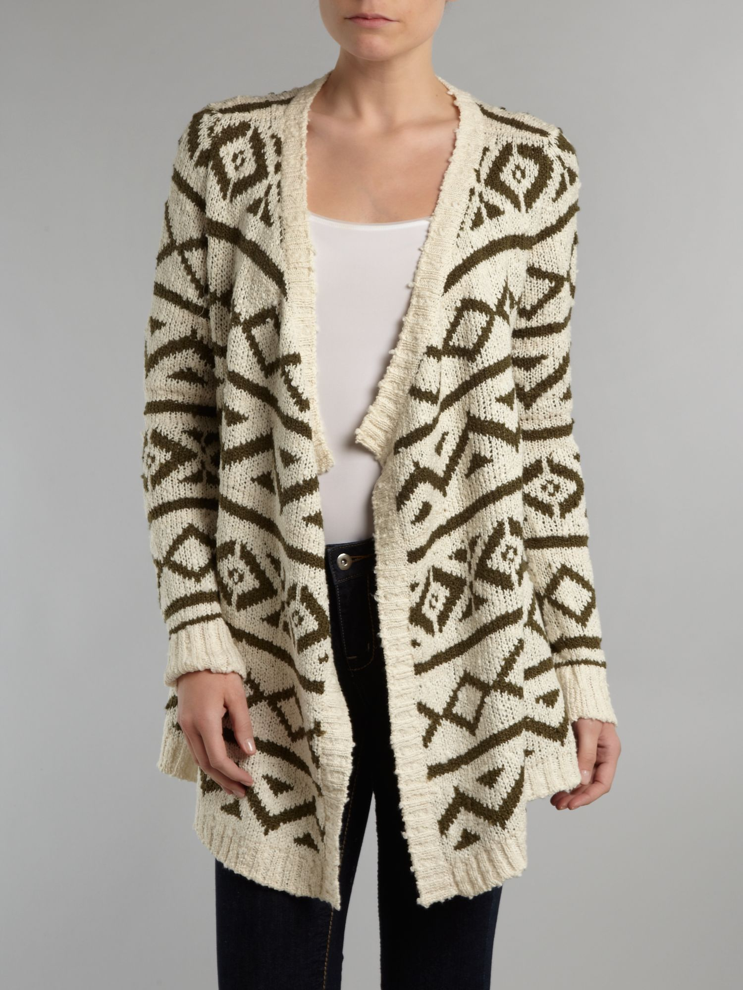 Tribal print long cardigan