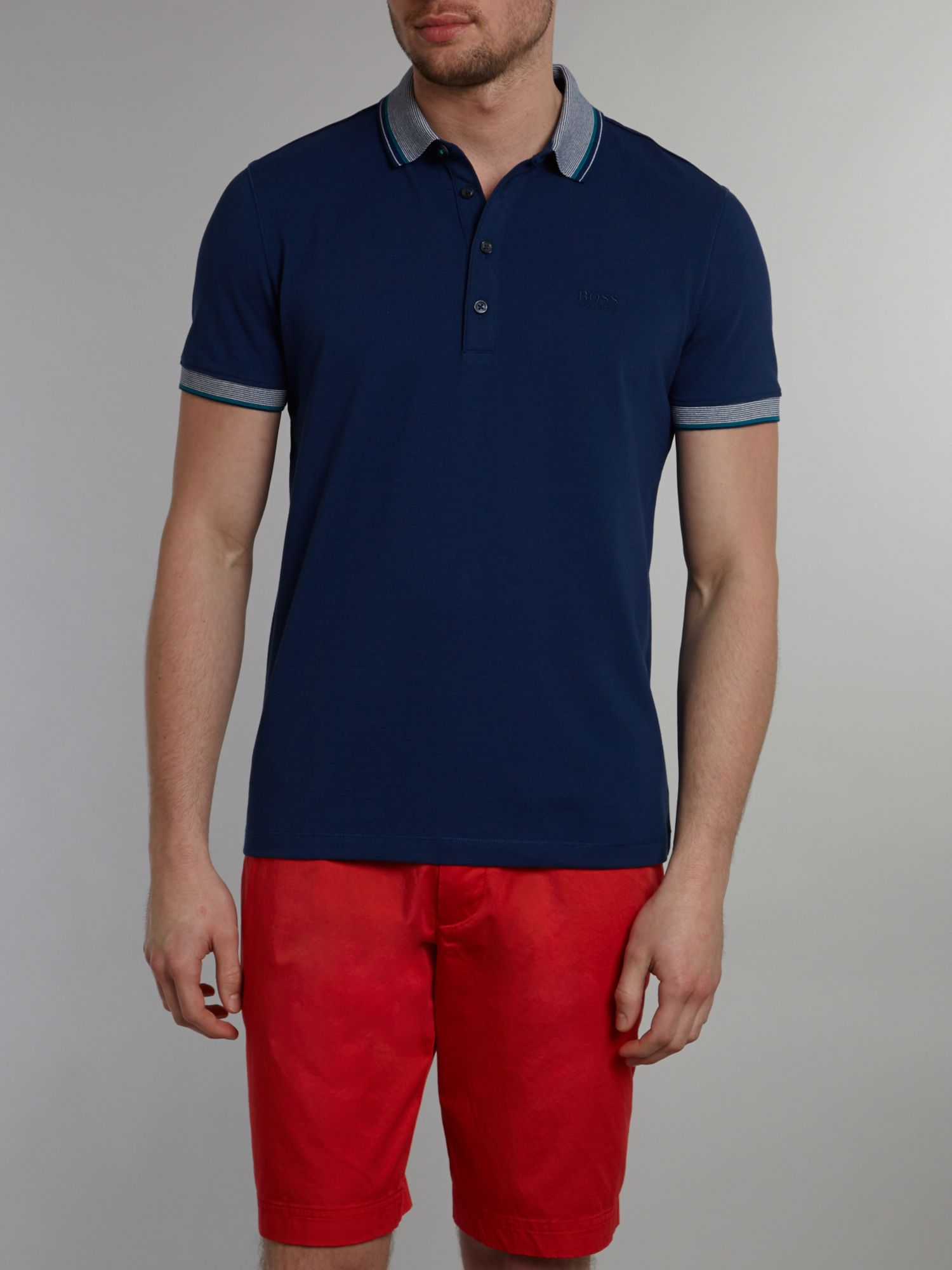 Striped collar polo shirt