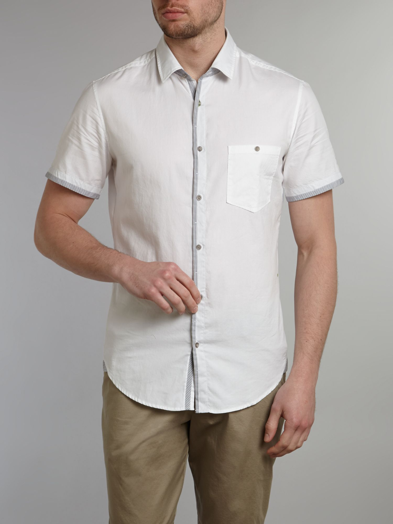 Short sleeved oxford trim detail shirt