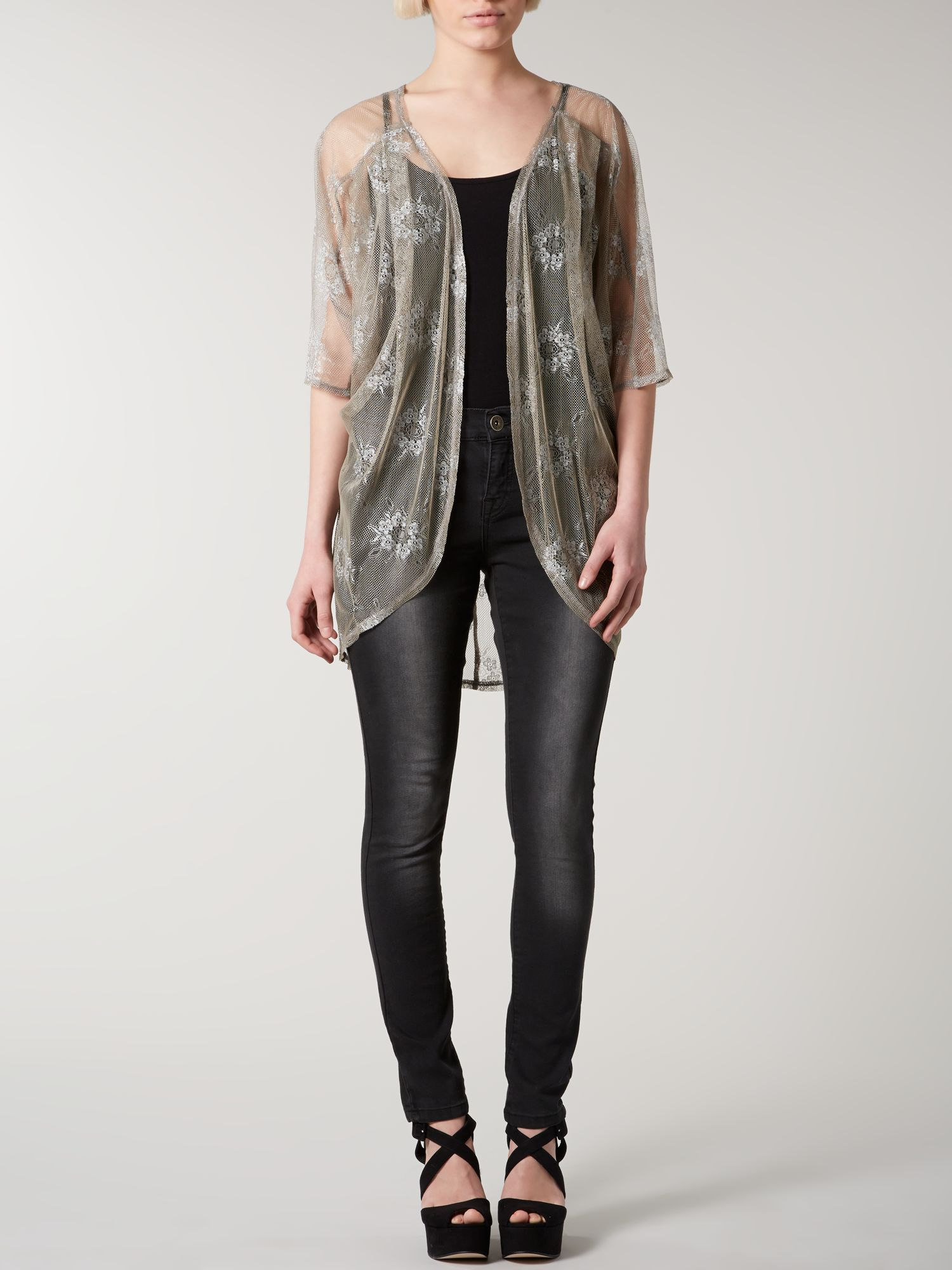 Metallic lace cover up