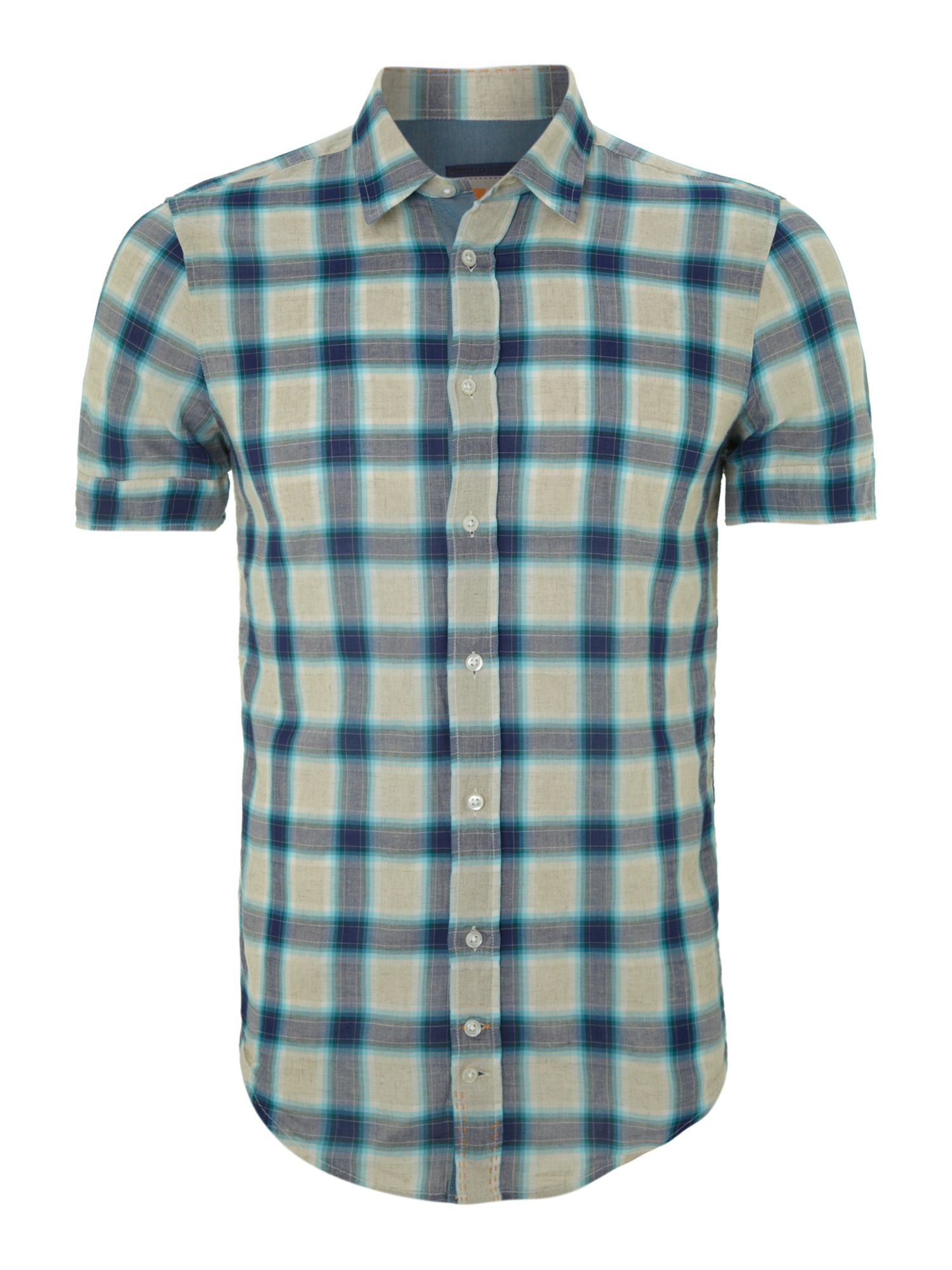 Short sleeved linen checked shirt