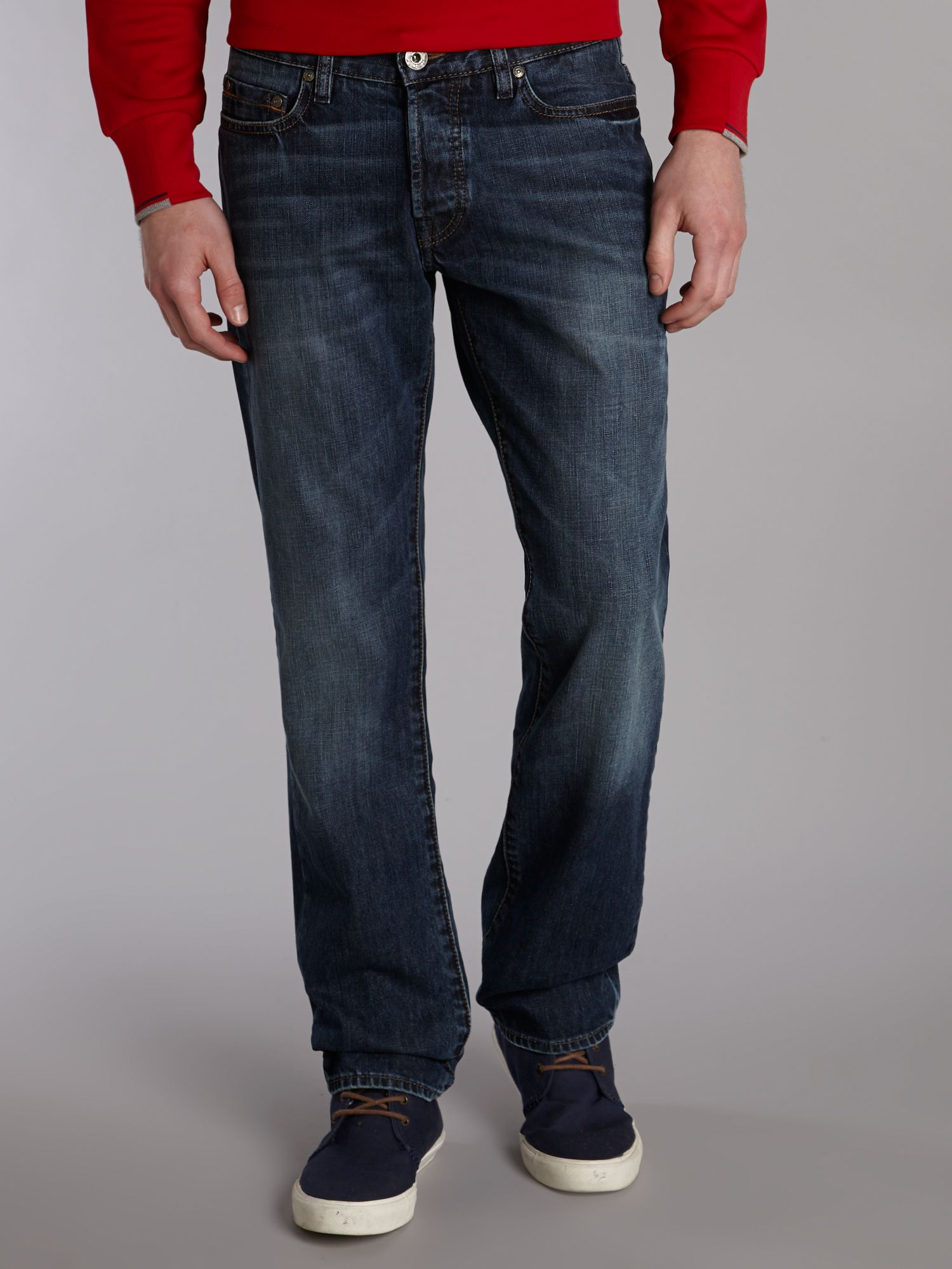 Orange 25 light wash straight fit jeans