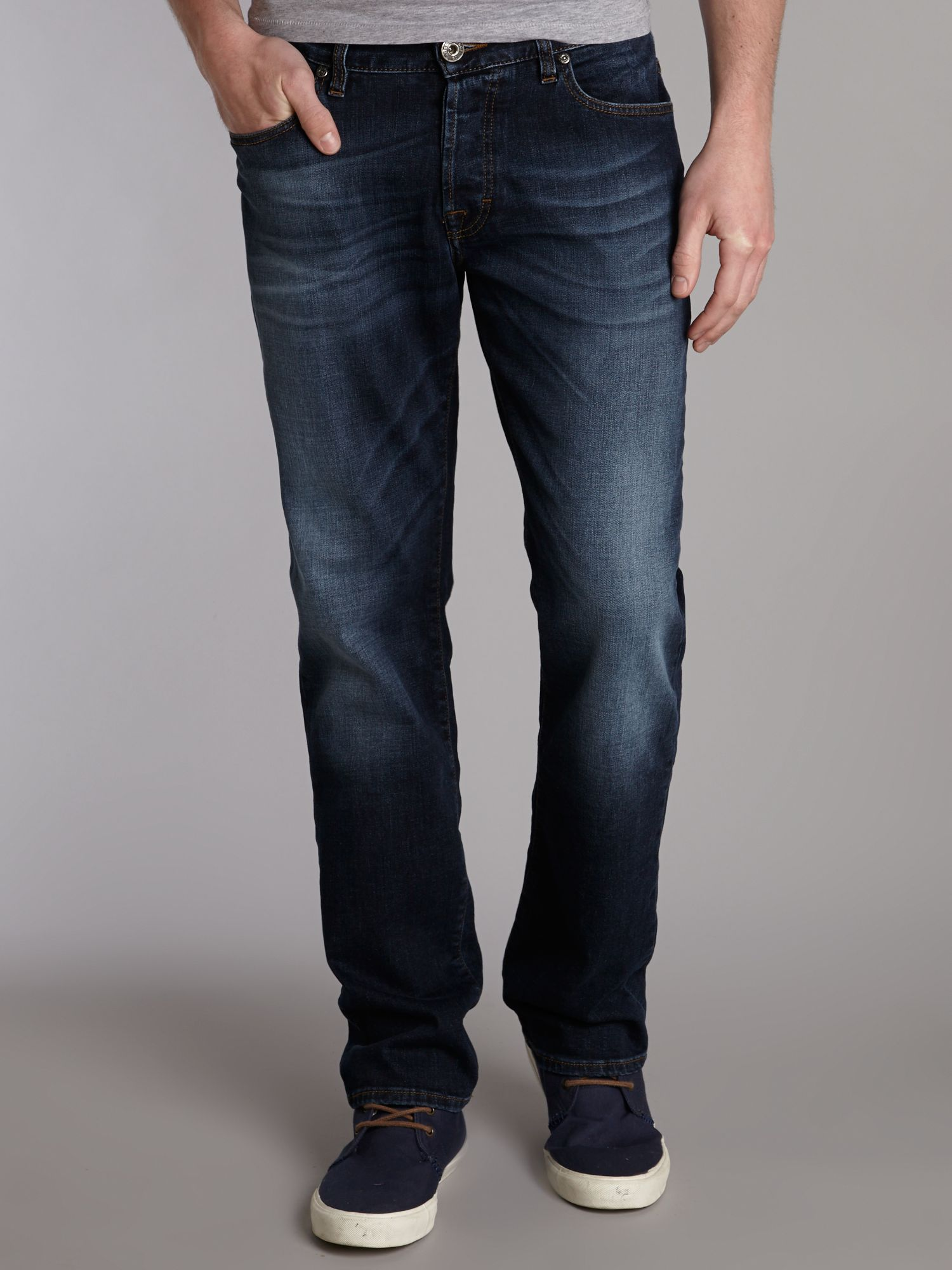 Orange 25 heavy wash straight fit jeans