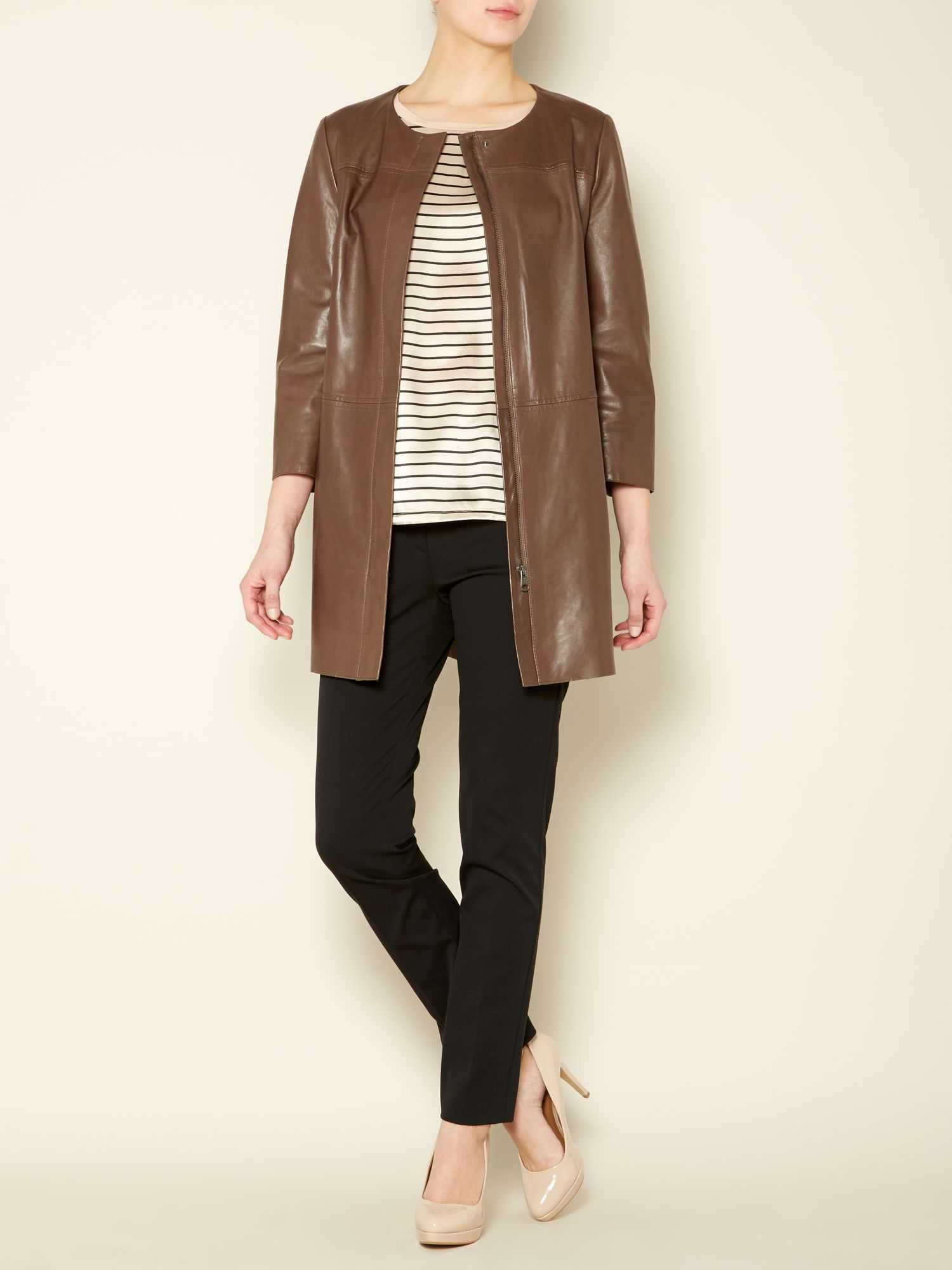 Calotta long line leather jacket