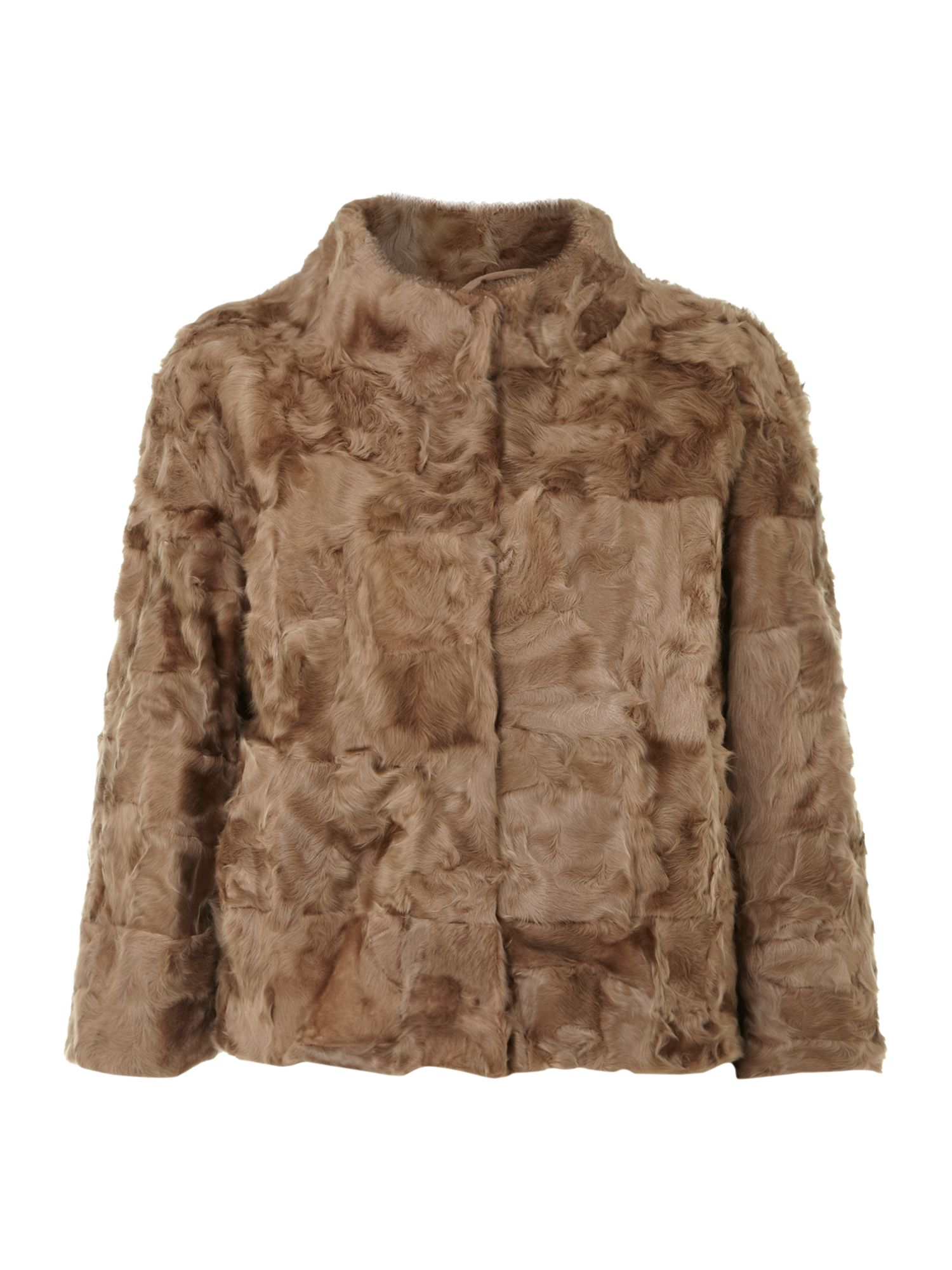 Weekend MaxMara Riva shearling short coat, Camel