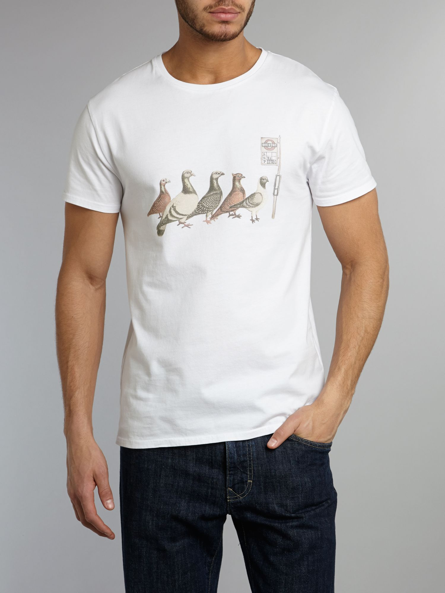 birds queuing at a bus stop graphic t-shirt