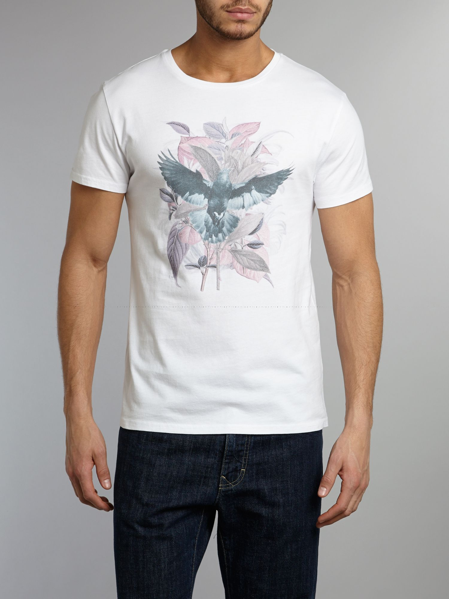 floral birds graphic t-shirt