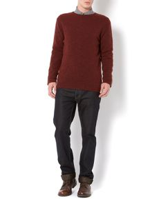 Griffin felt check arm panel crew knit