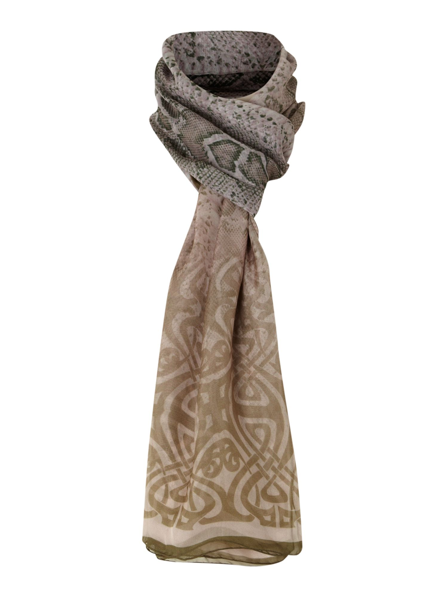 Degraded snake print scarf