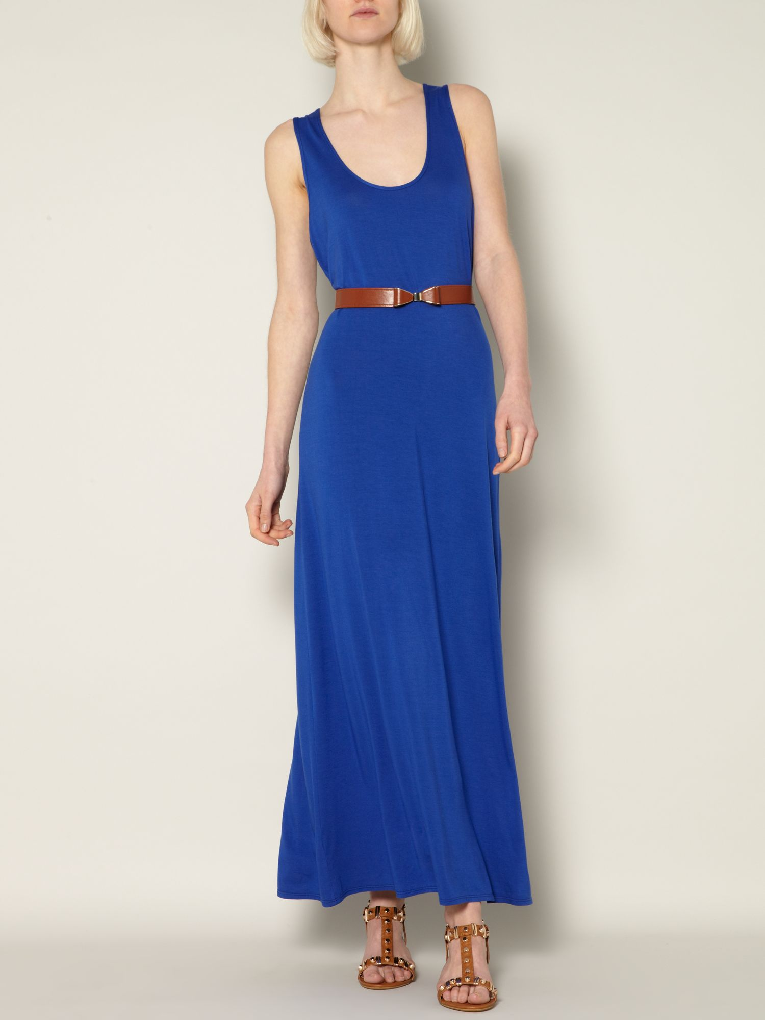 Plain solid maxi jersey dress