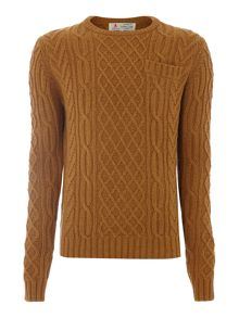 Jack cable knit crew neck jumper
