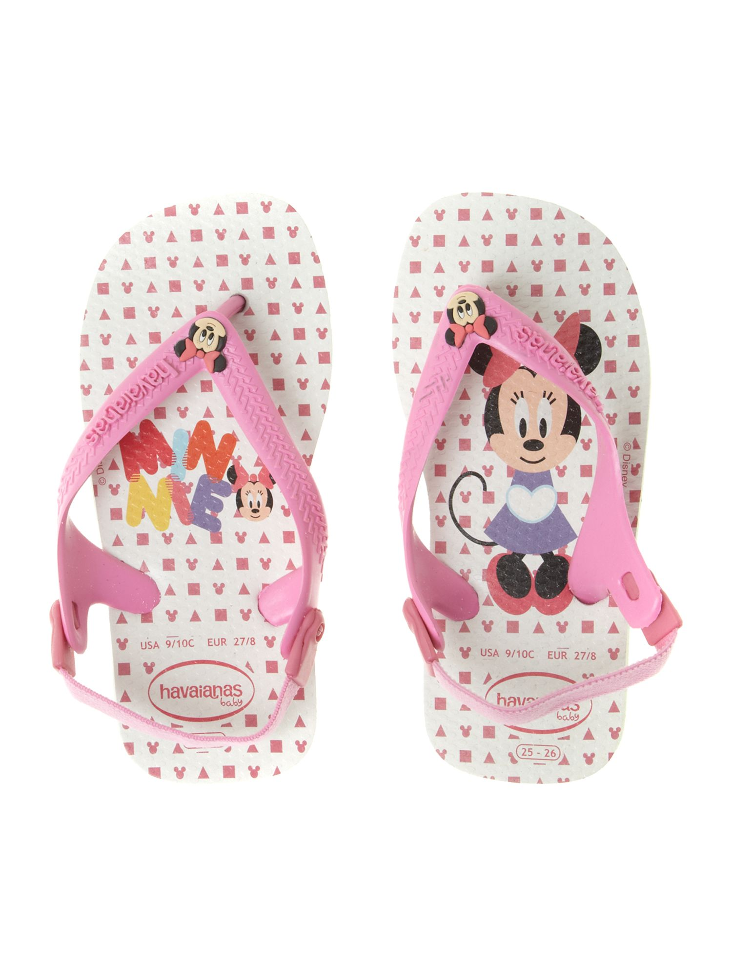 Girl`s baby Minnie Mouse flip flops