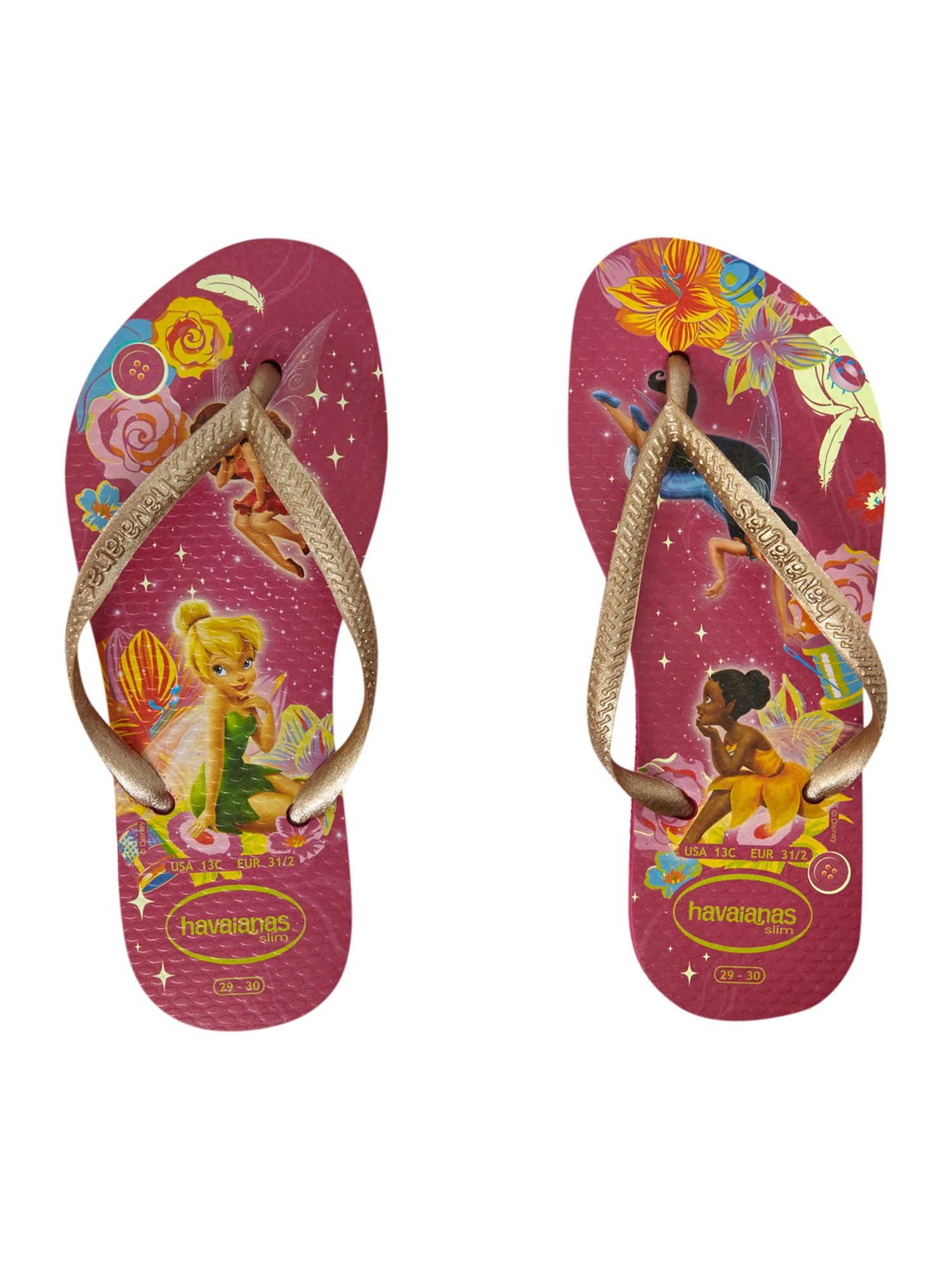 Girl`s Disney fairies glow in the dark fip flops